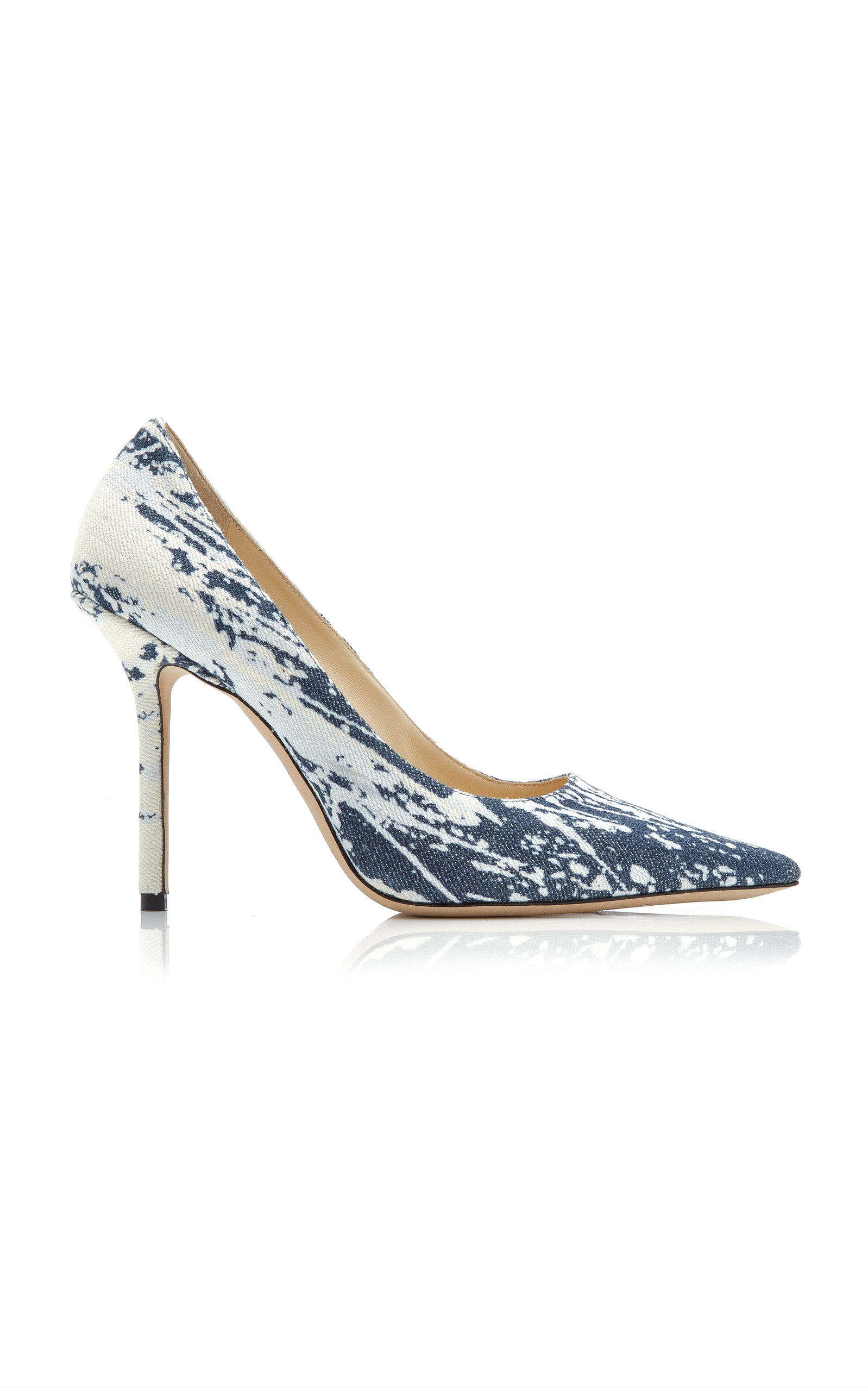 Love 100 Bleached Denim Pointy Toe Pumps in Blue