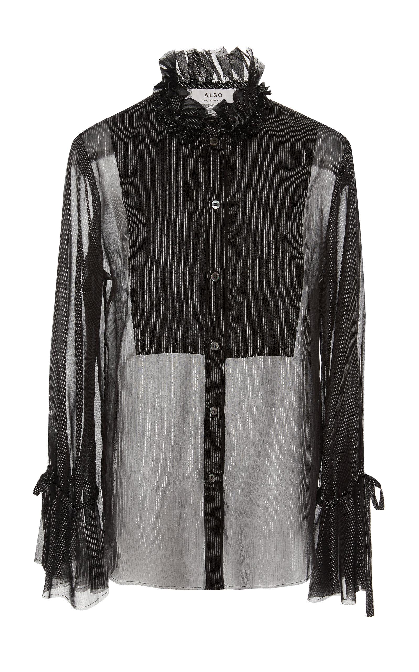 ALSO Gwenyth Sheer Metallic Blouse in Black