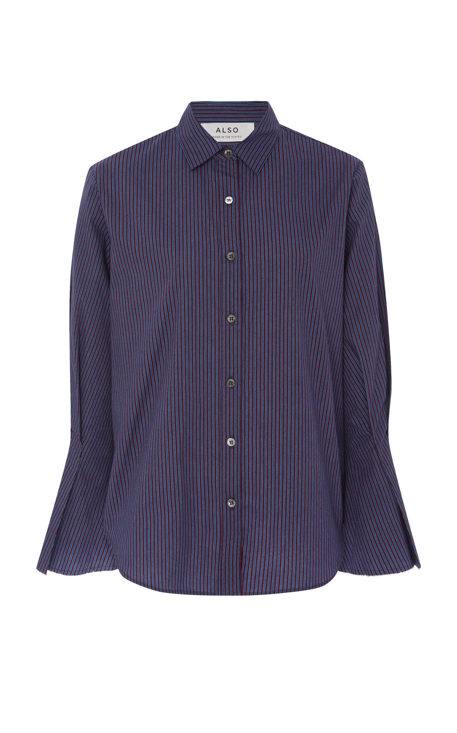 ALSO Laurel Striped Cotton-Poplin Top