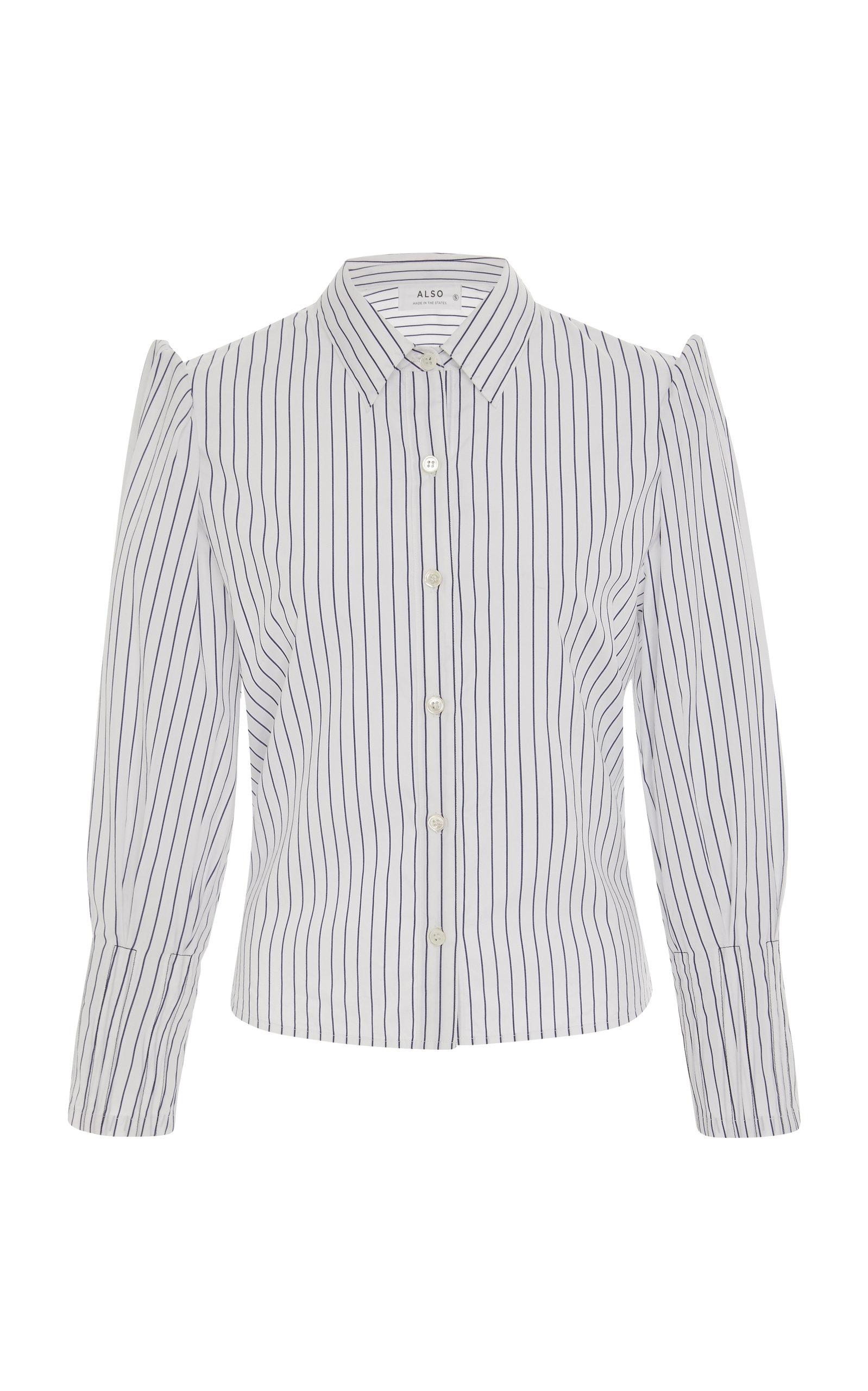 ALSO Striped Cotton Button-Up Shirt
