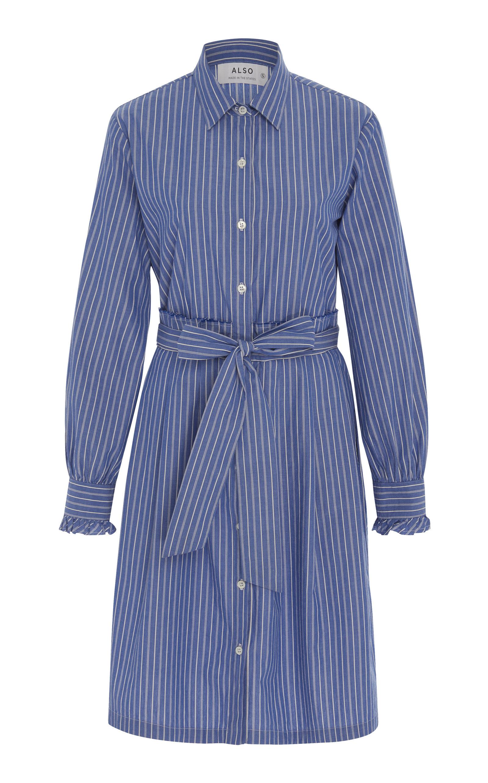ALSO Leandra Cotton-Poplin Shirt Dress in Stripe