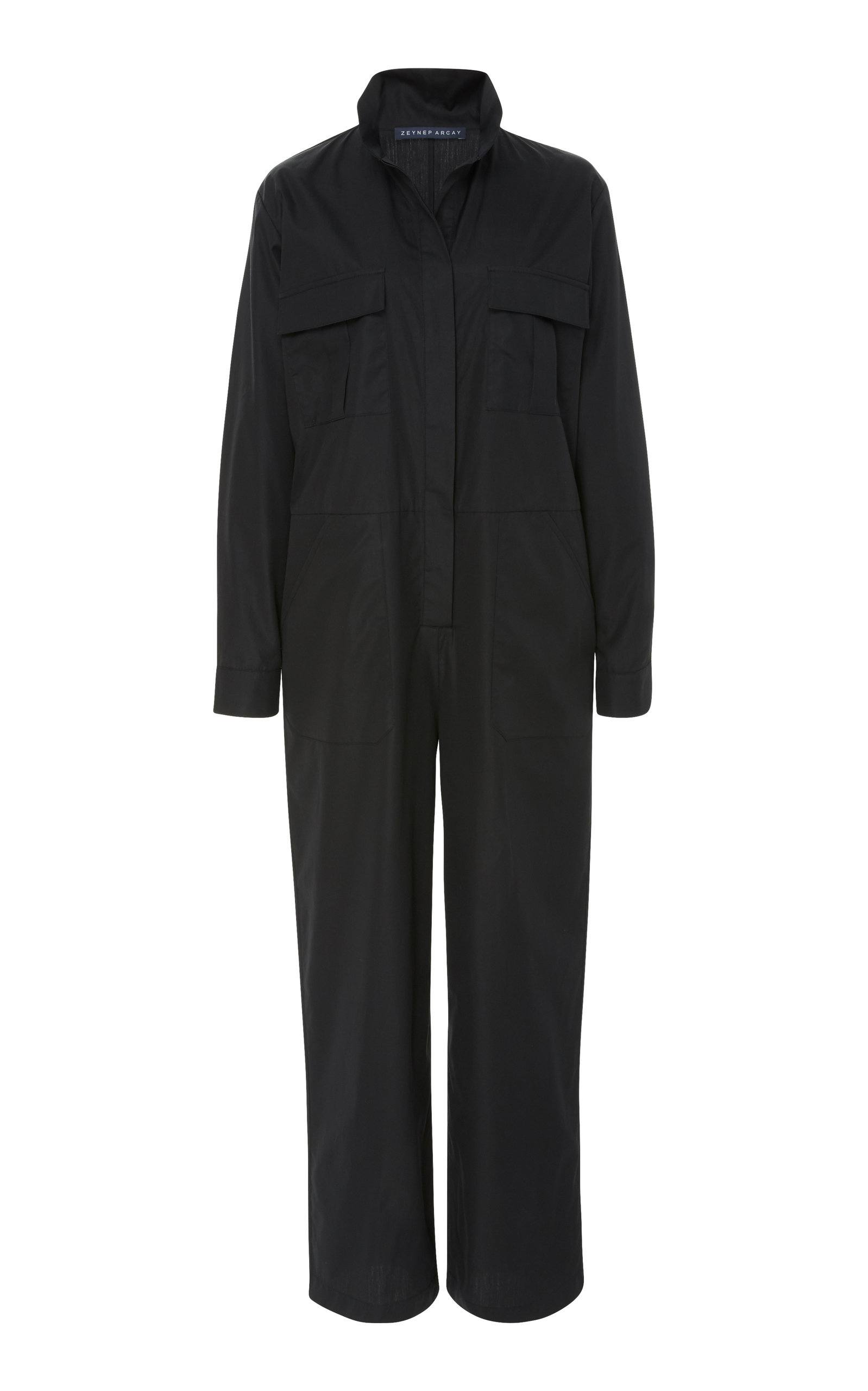 COLLARED COTTON JUMPSUIT