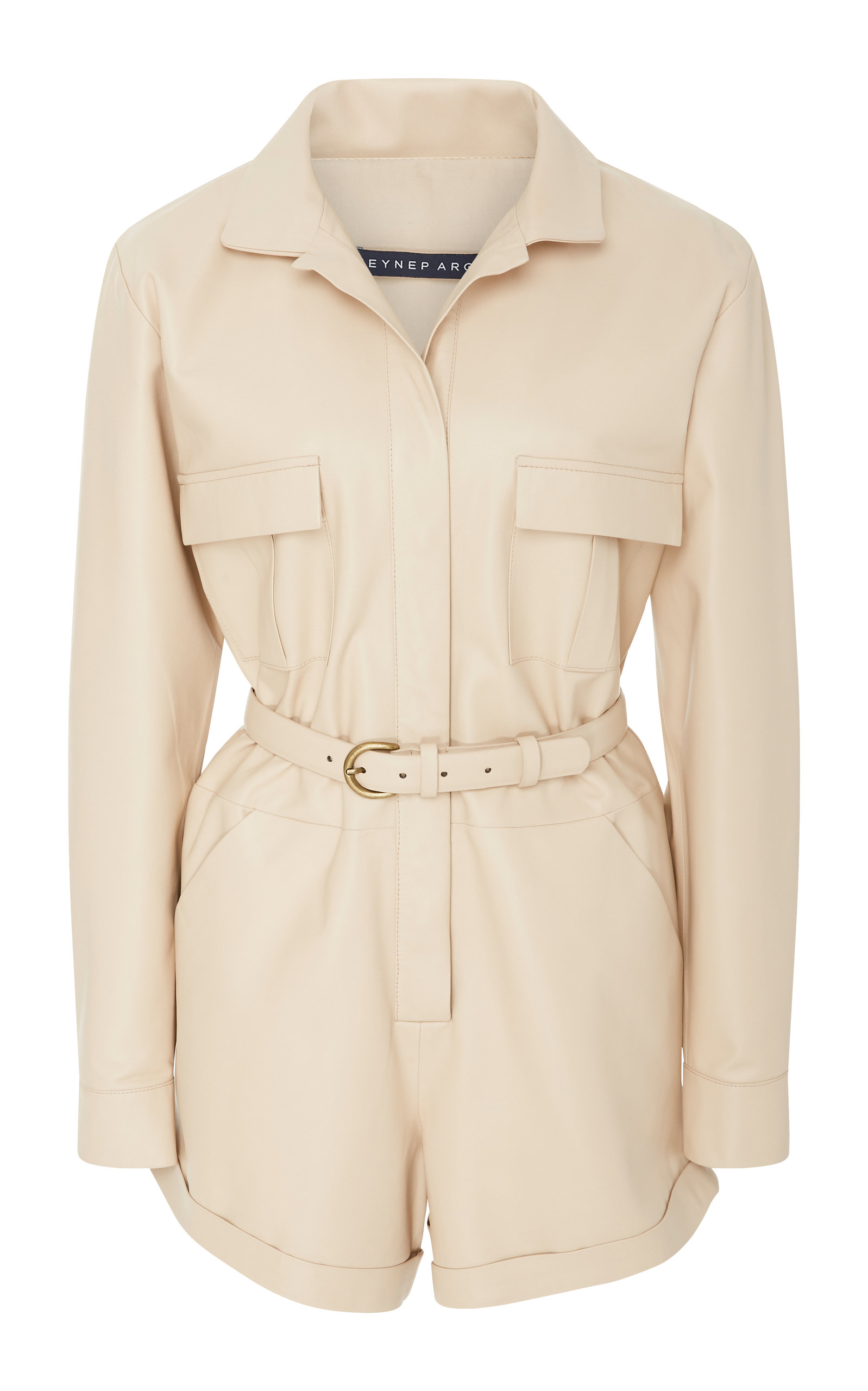 COLLAR LEATHER PLAYSUIT