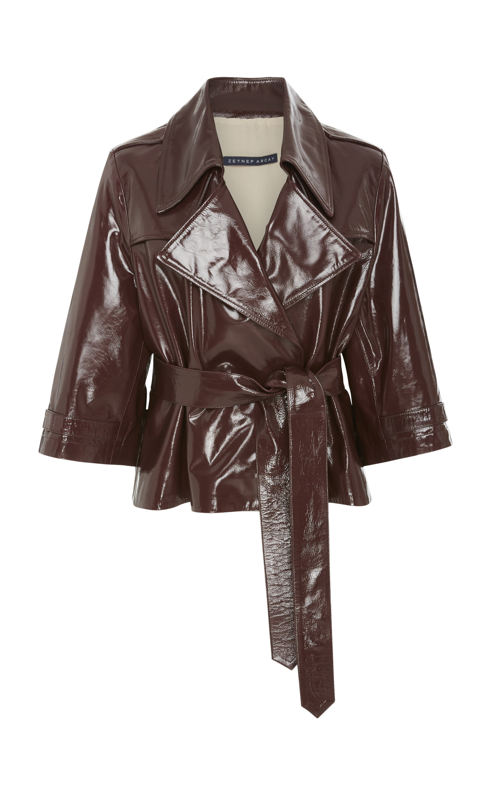 SHORT LEATHER TRENCH JACKET