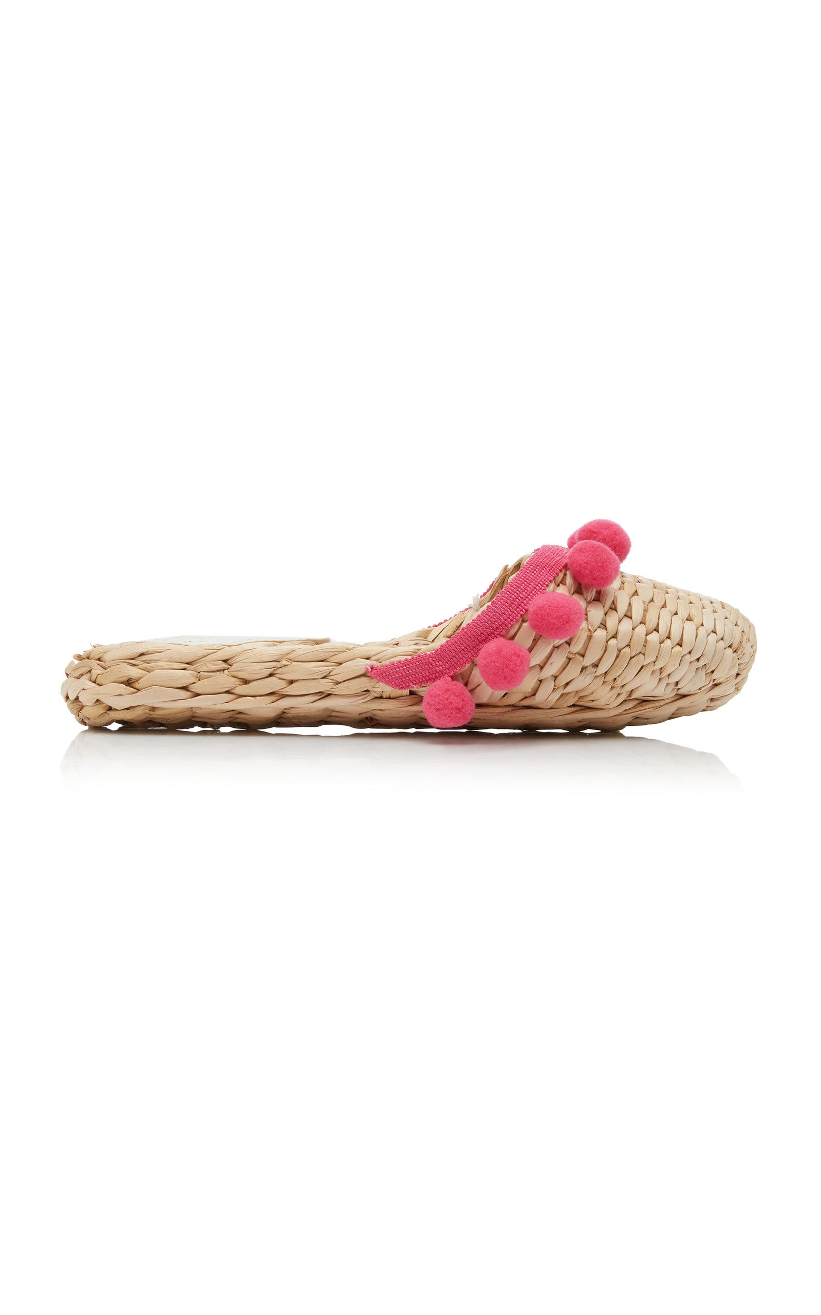 M'O EXCLUSIVE: MONOGRAM POM POM STRAW SLIPPERS