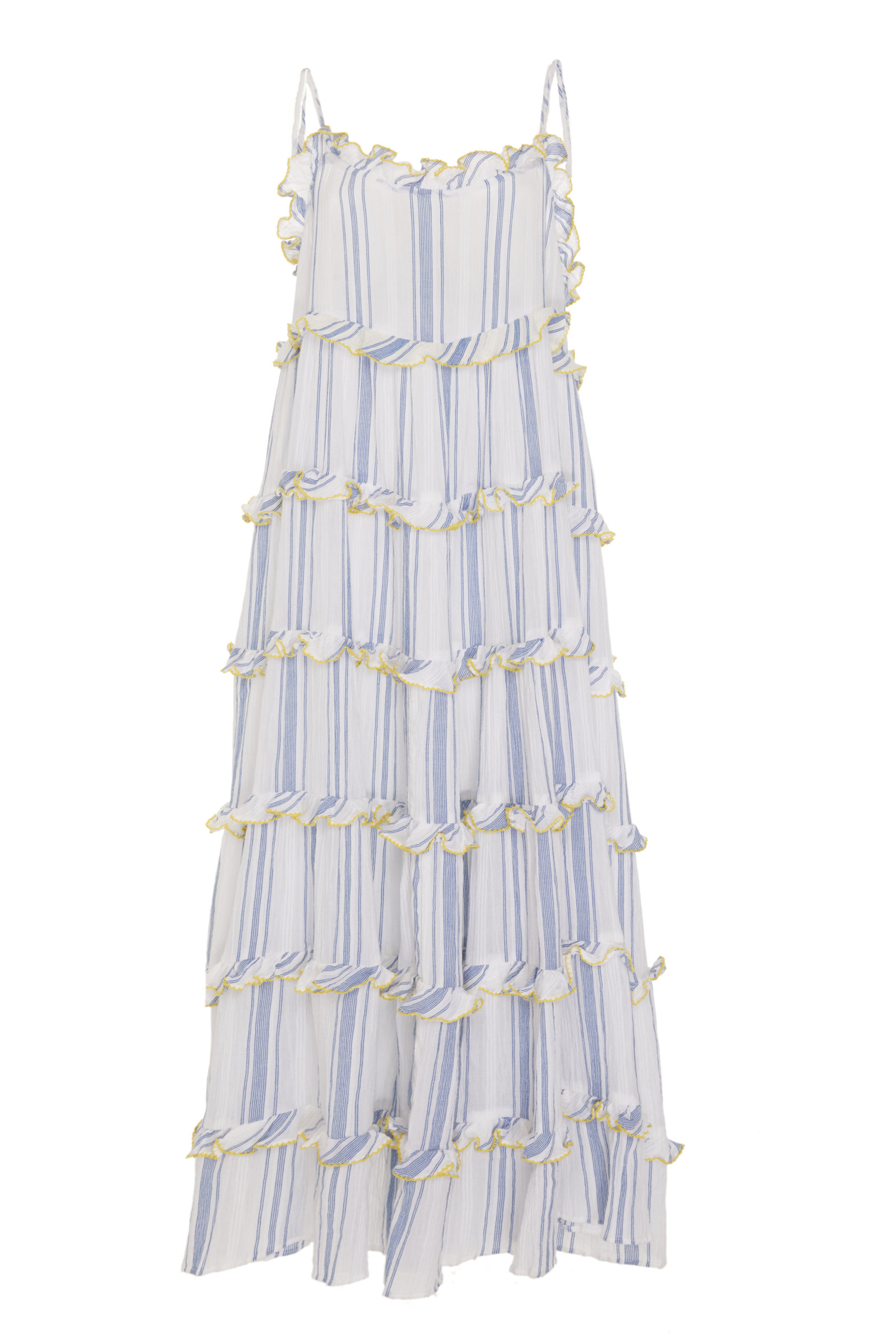 RAE FEATHER M'O EXCLUSIVE COTTON STRIPE FRILL DRESS