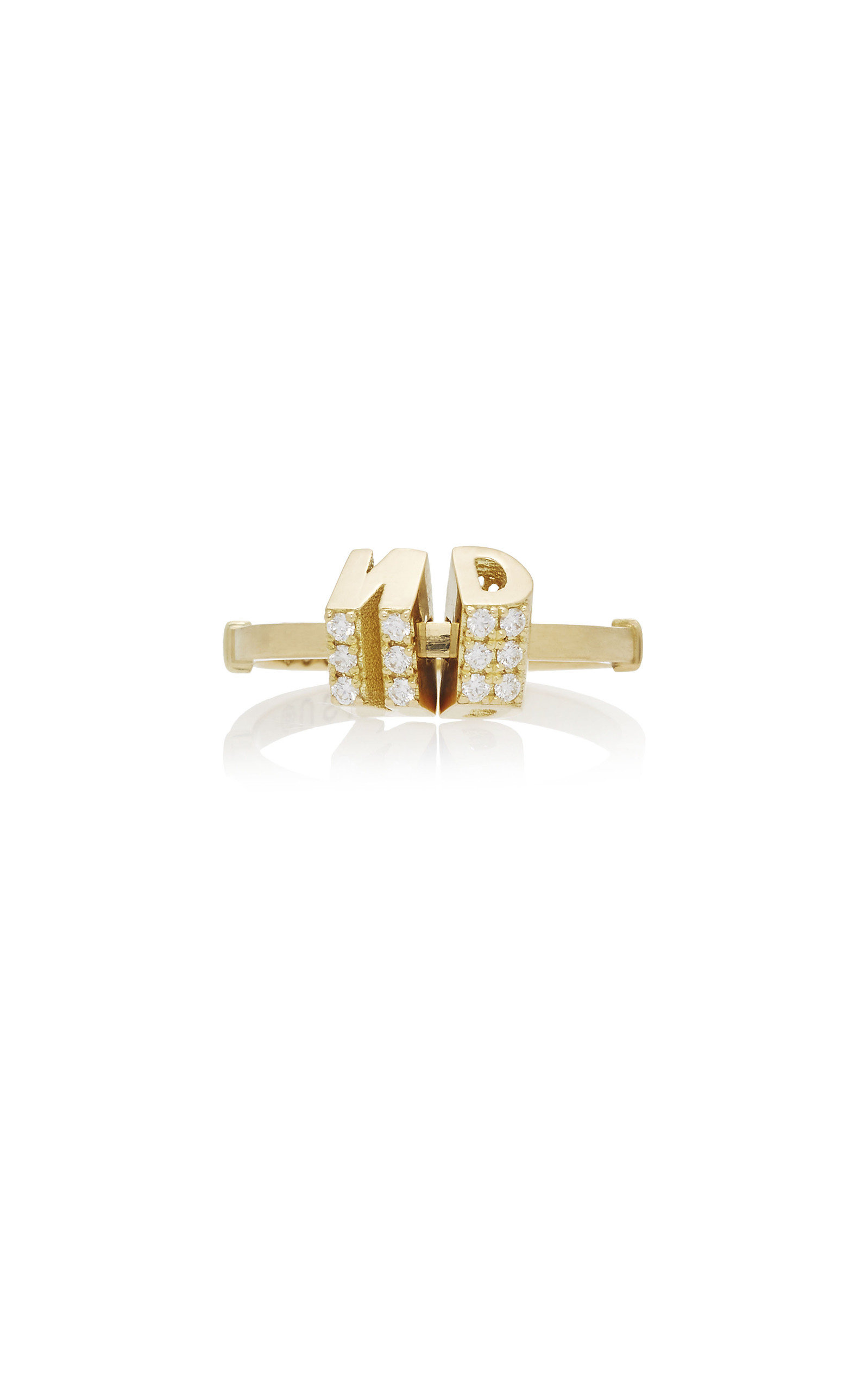 NOUSH JEWELRY BARCODE DOUBLE INITIAL RING