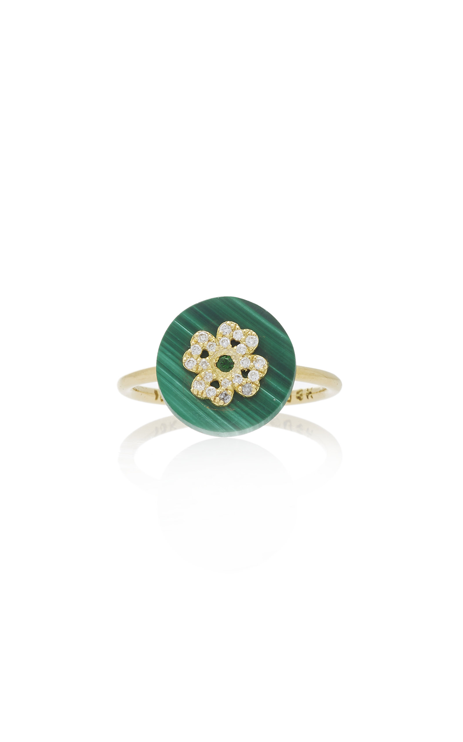 NOUSH JEWELRY COEXIST CLOVER ON MALACHITE RING