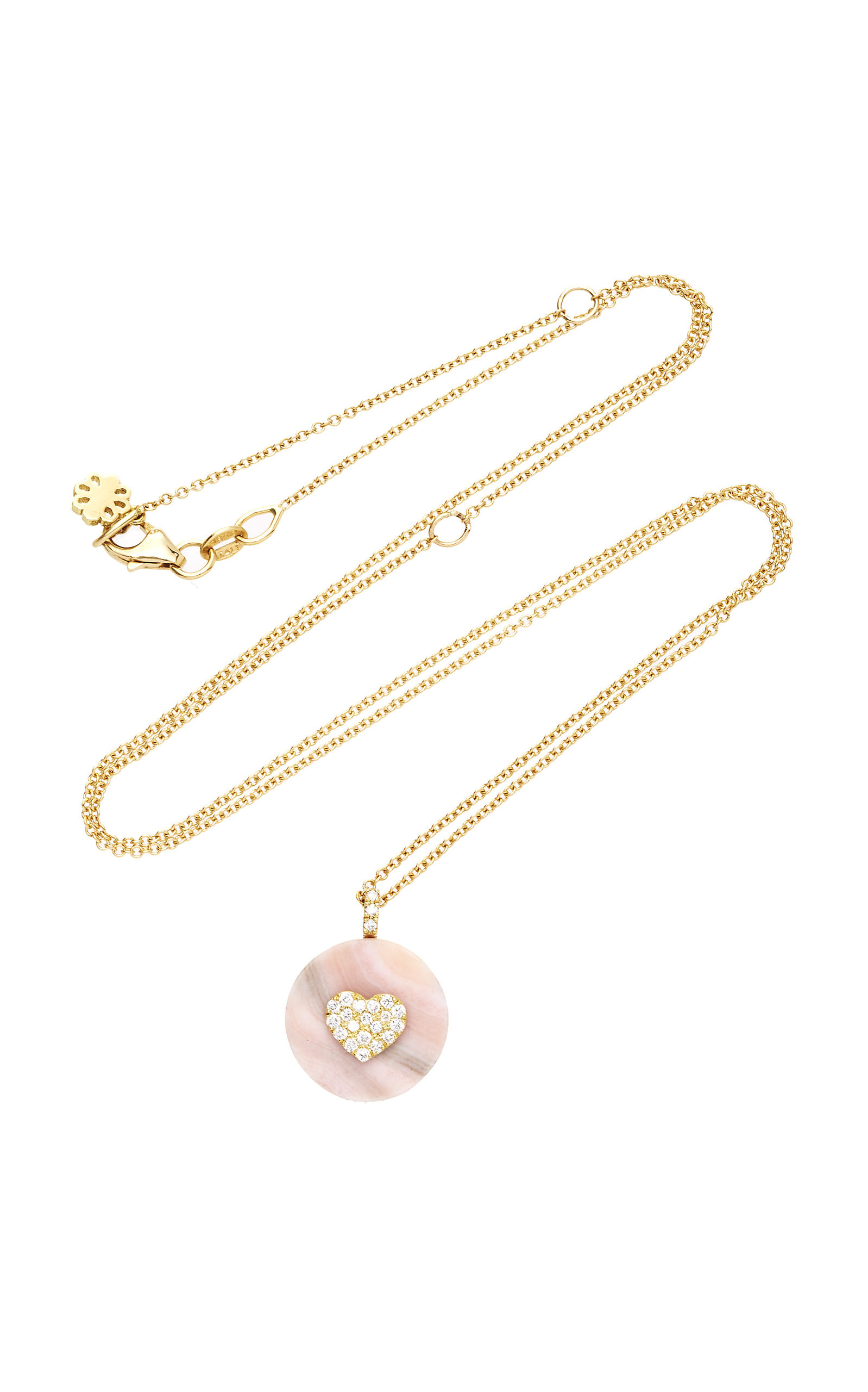 NOUSH JEWELRY Coexist Heart On Pink Opal Necklace