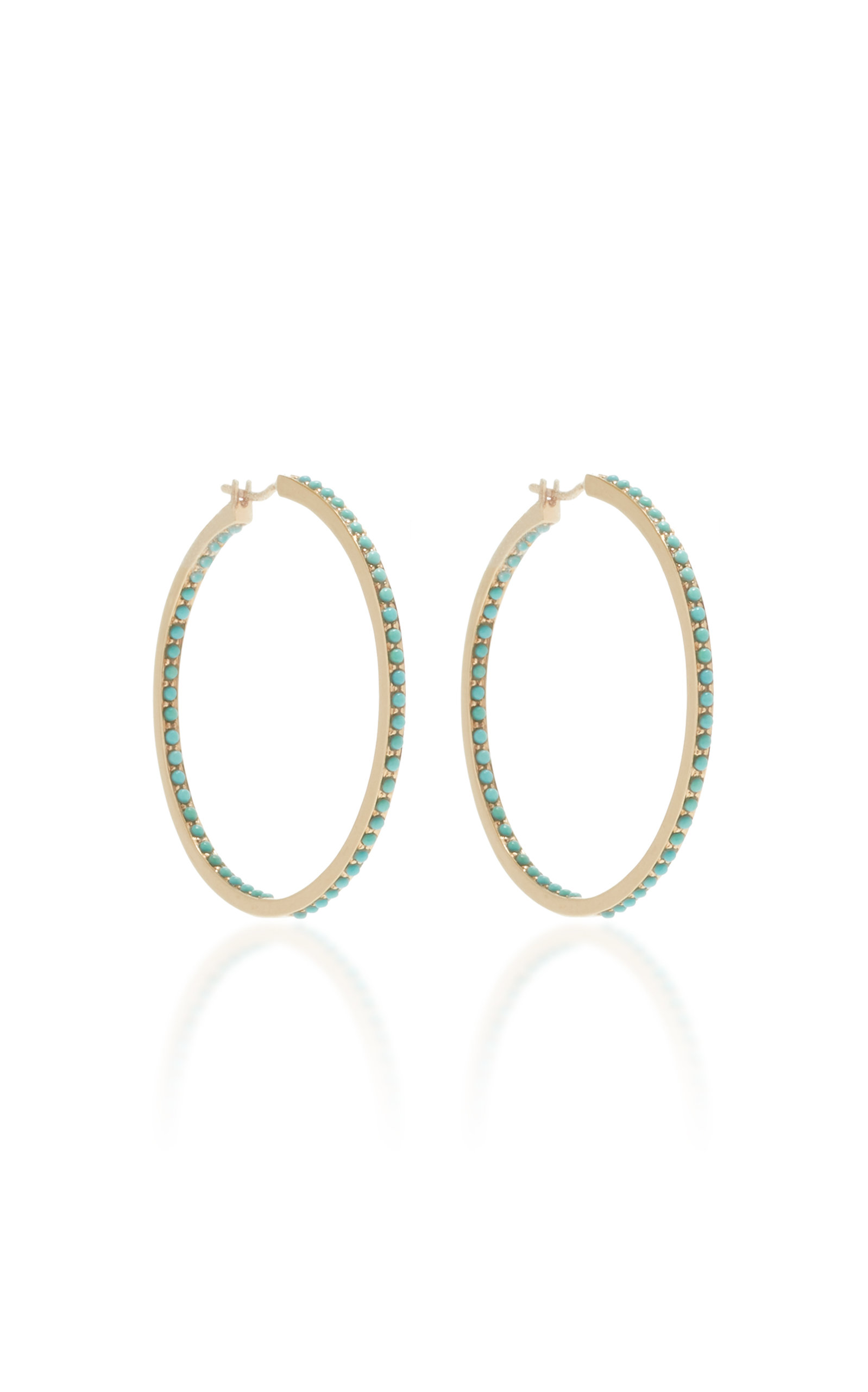 LARGE PAVE TURQUOISE HOOPS