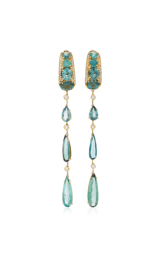 CAROL KAUFFMANN | Carol Kauffmann Amazonia 18K Gold Tourmaline And Diamond Earrings | Goxip