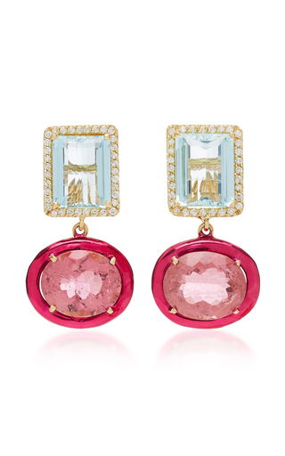 CAROL KAUFFMANN | Carol Kauffmann Class 18K Gold Aquamarine And Pink Tourmaline Earrings | Goxip