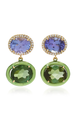 CAROL KAUFFMANN | Carol Kauffmann Class 18K Gold And Green Tourmaline Earrings | Goxip