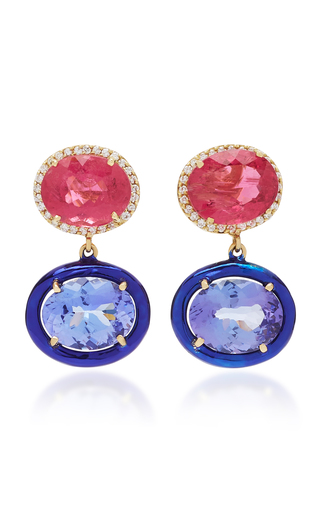 CAROL KAUFFMANN | Carol Kauffmann Class 18K Gold Pink Tourmaline And Diamond Earrings | Goxip