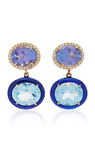 CAROL KAUFFMANN | Carol Kauffmann Class 18K Gold And Topaz Earrings | Goxip