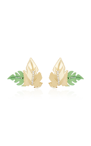 CAROL KAUFFMANN | Carol Kauffmann Leaf 18K Gold And Diamond Stud Earrings | Goxip