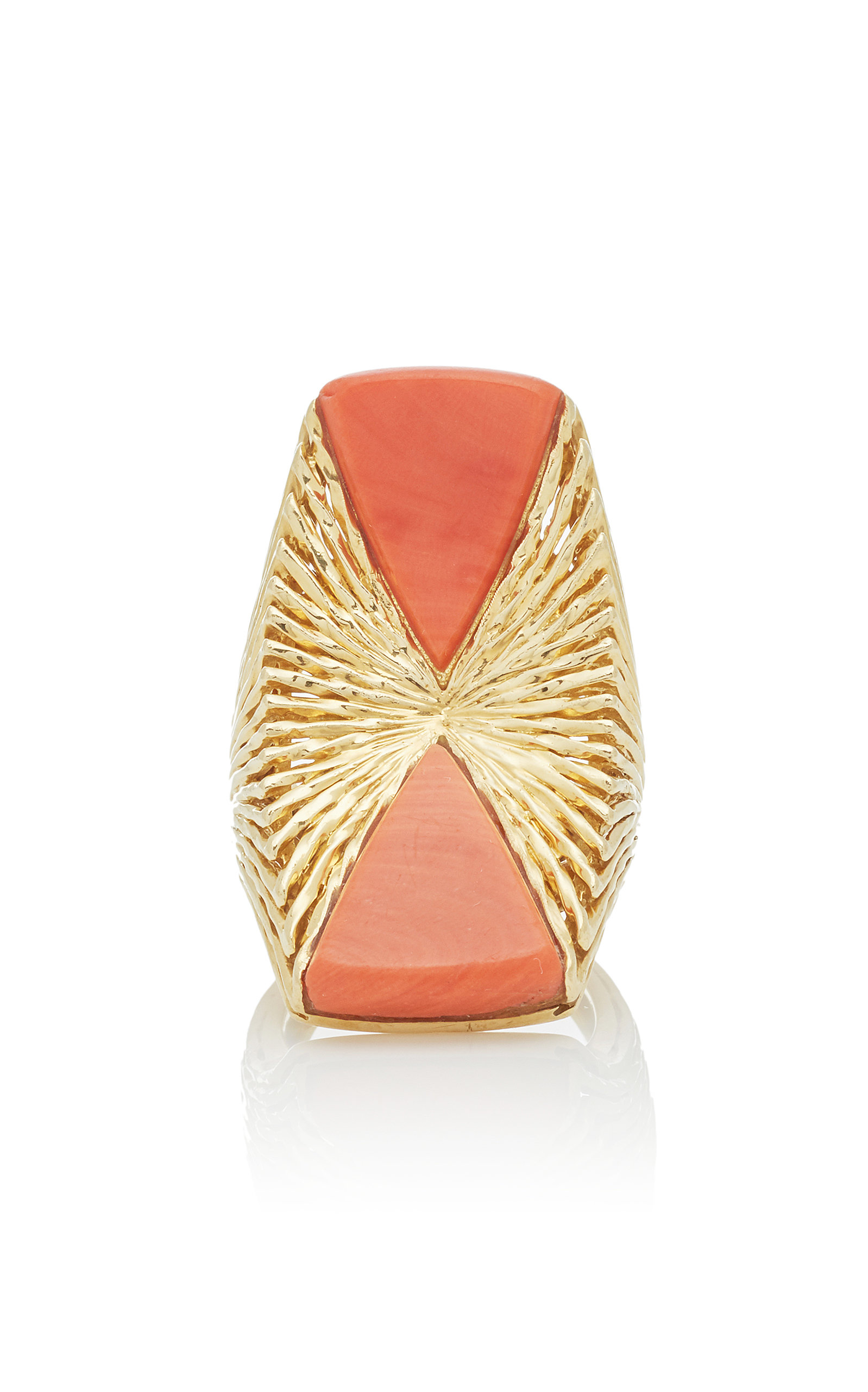 LIMITED EDITION CORAL AND TEXTURED 18K GOLD RING BY KUTCHINSKY C.1970