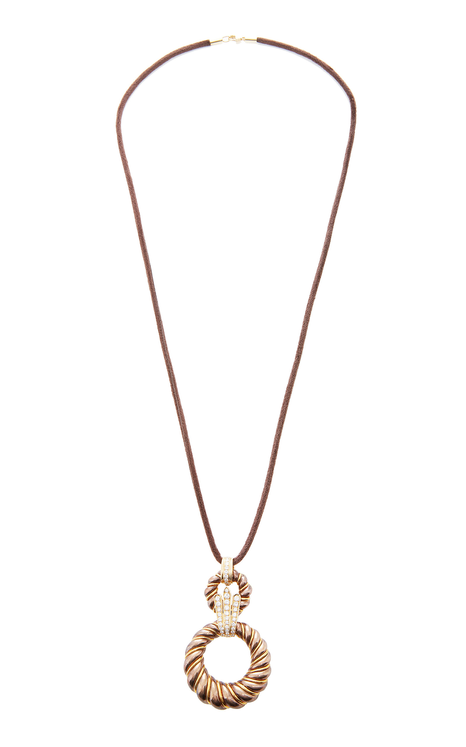LIMITED EDITION CHAUMET A DIAMOND BRONZE AND 18 KARAT GOLD PENDANT BY CHAUMET C.1970