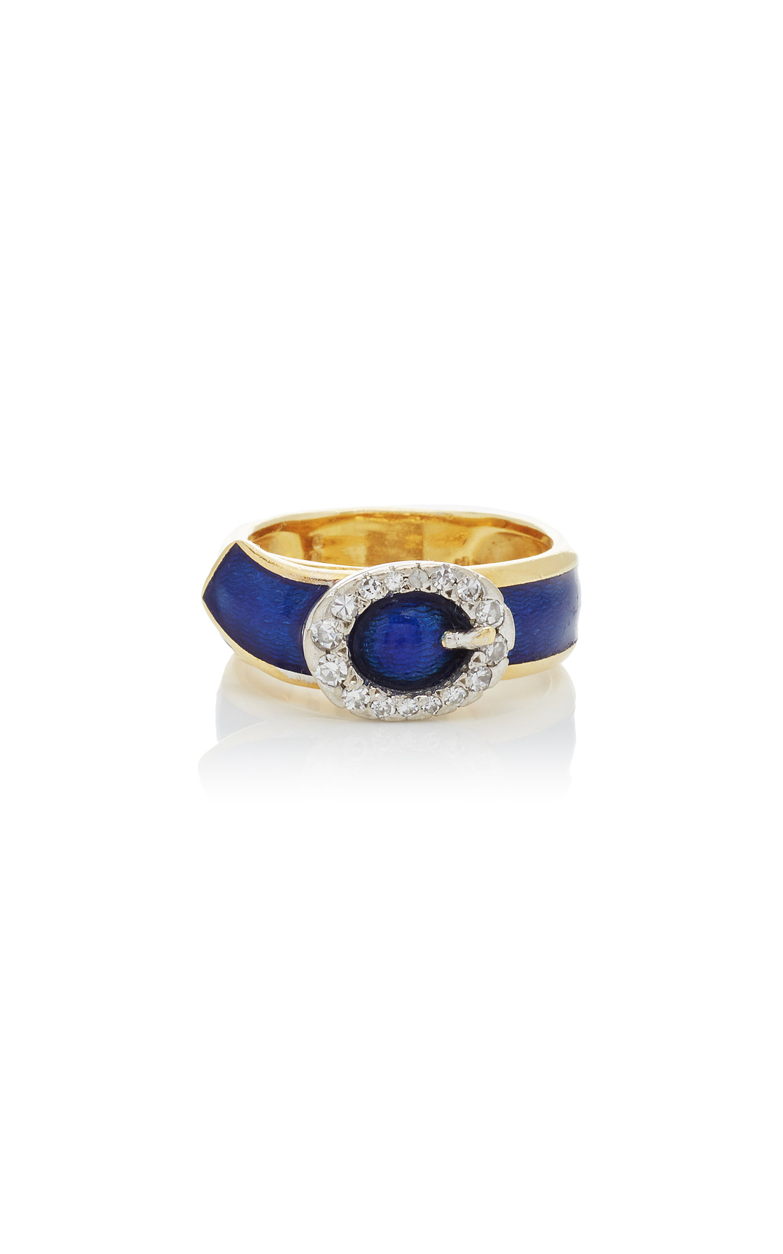MAHNAZ COLLECTION LIMITED EDITION DIAMOND AND ENAMEL ON 18K GOLD BUCKLE RING BY KUTCHINSKY C.1972