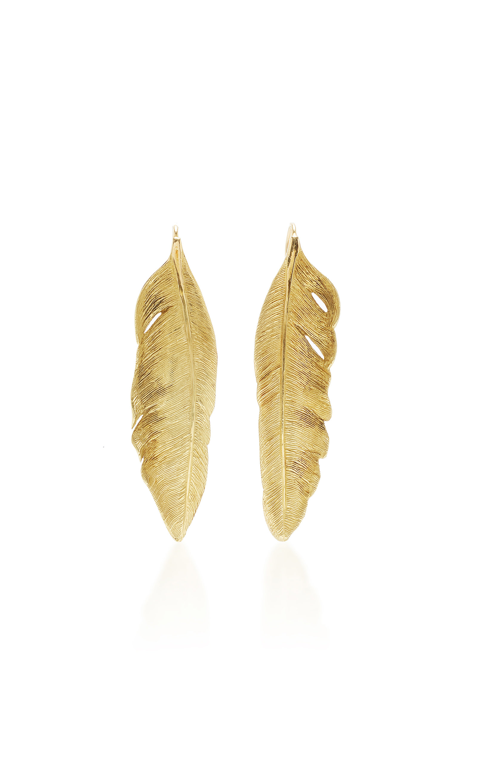 MAHNAZ COLLECTION LIMITED EDITION 18K GOLD FEATHER EARRINGS BY ANGELA CUMMINGS C.1991