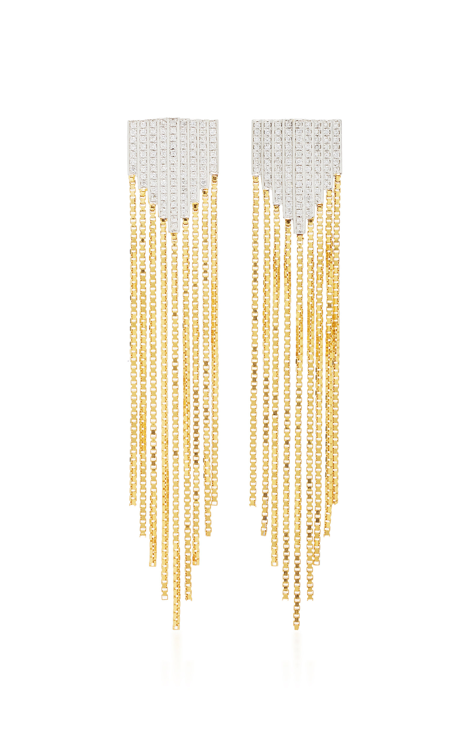 MAHNAZ COLLECTION LIMITED EDITION 18K GOLD AND DIAMOND FRINGE EARRINGS UNSIGNED