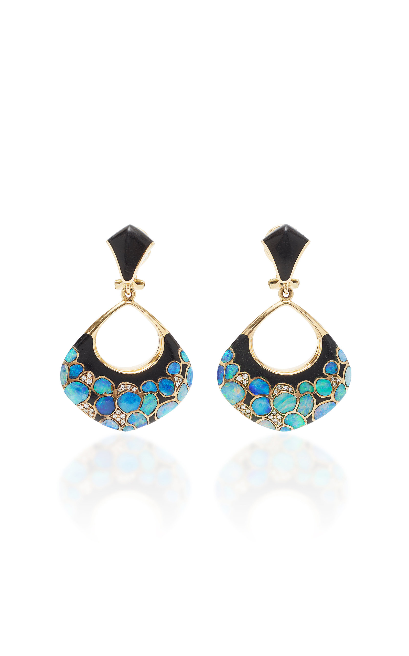 MAHNAZ COLLECTION ONE-OF-A-KIND 18K GOLD WITH OPAL WOOD AND DIAMOND EARRINGS BY PAUL BINDER.