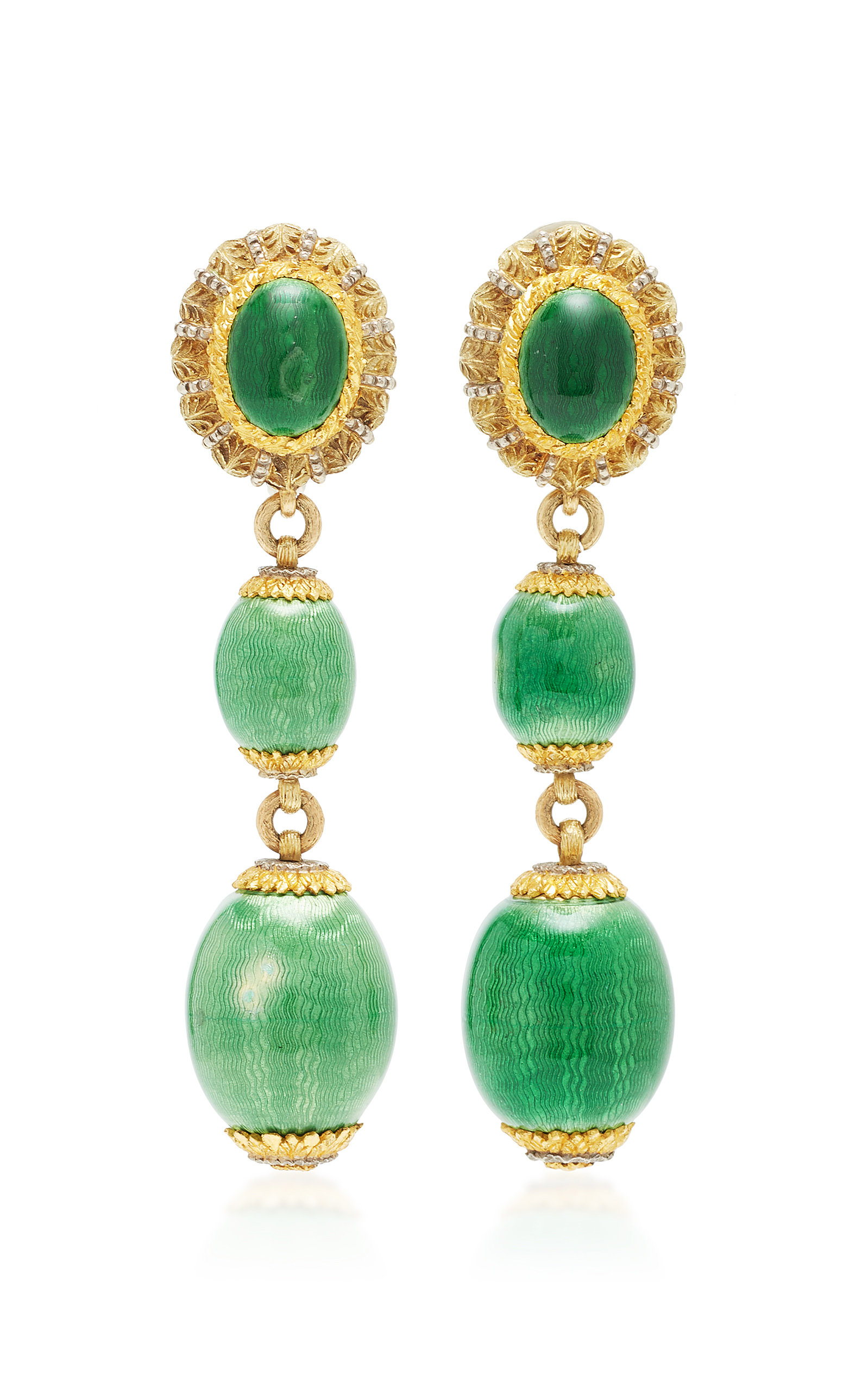 MAHNAZ COLLECTION ONE-OF-A-KIND 18K GOLD AND GREEN GUILLOCHÉ ENAMEL DROP EARRINGS BY CAZZANIGA C.1960