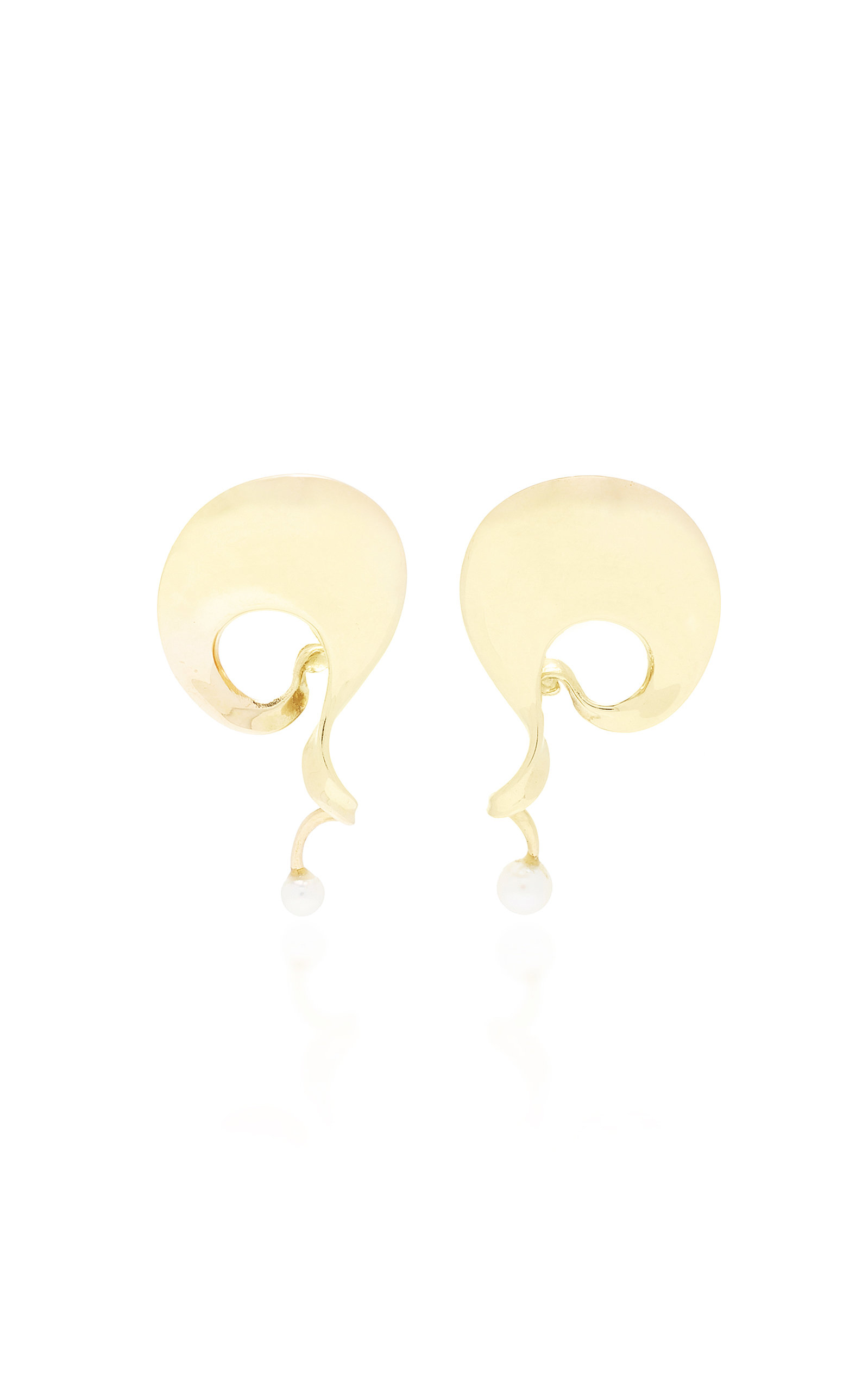 LIMITED EDITION 18K GOLD AND PEARL MOBIUS DESIGN EARRINGS BY VIVIANNA TORUN FOR GEORG JENSEN C. 1970