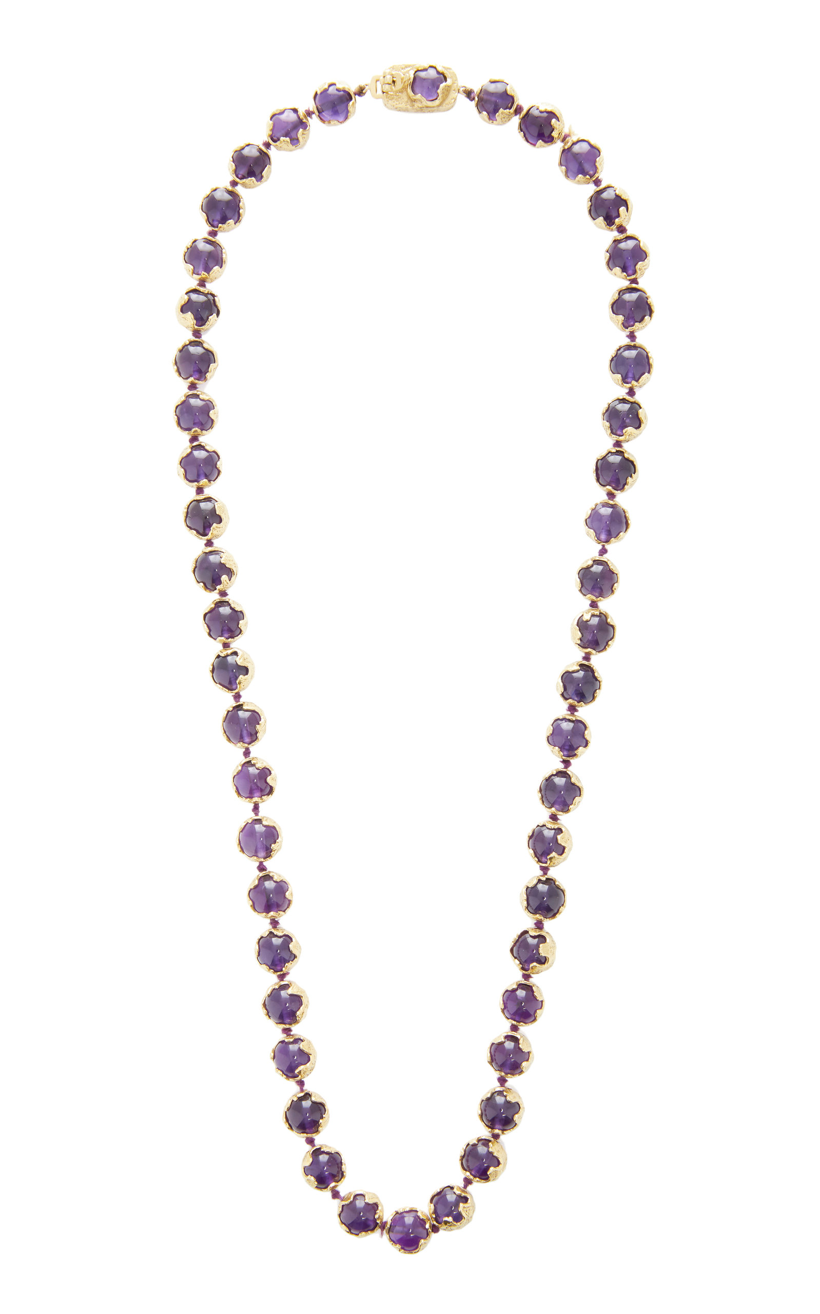 MAHNAZ COLLECTION LIMITED EDITION 18K GOLD AND AAMETHYST BEAD NECKLACE BY CHARLES DE TEMPLE 1982