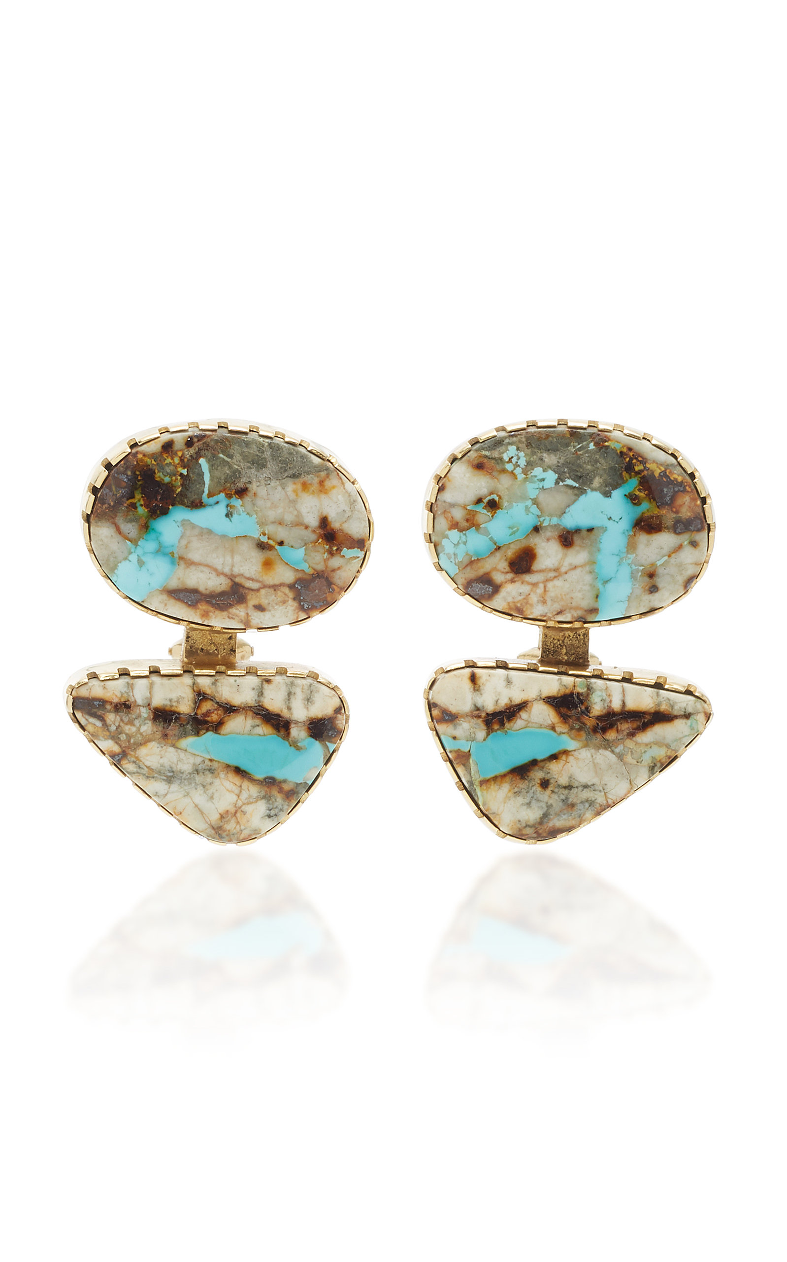 MAHNAZ COLLECTION ONE-OF-A-KIND 18K GOLD AND JASPER EARRINGS BY GAIL BIRD AND YAZZIE JOHNSON.