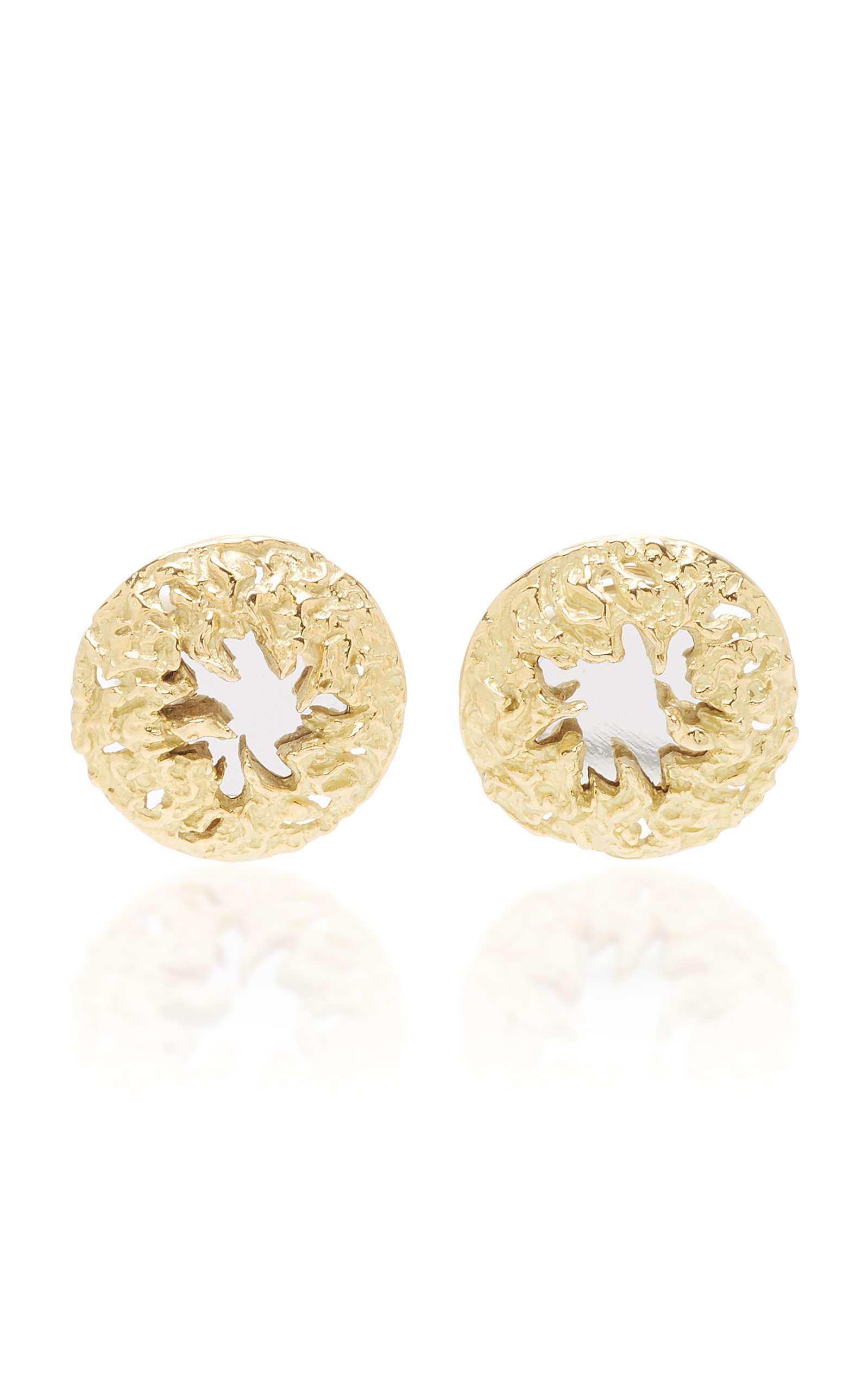 LIMITED EDITION 18K GOLD AND MIRROR CLIP EARRINGS BY CHAUMET C. 1970