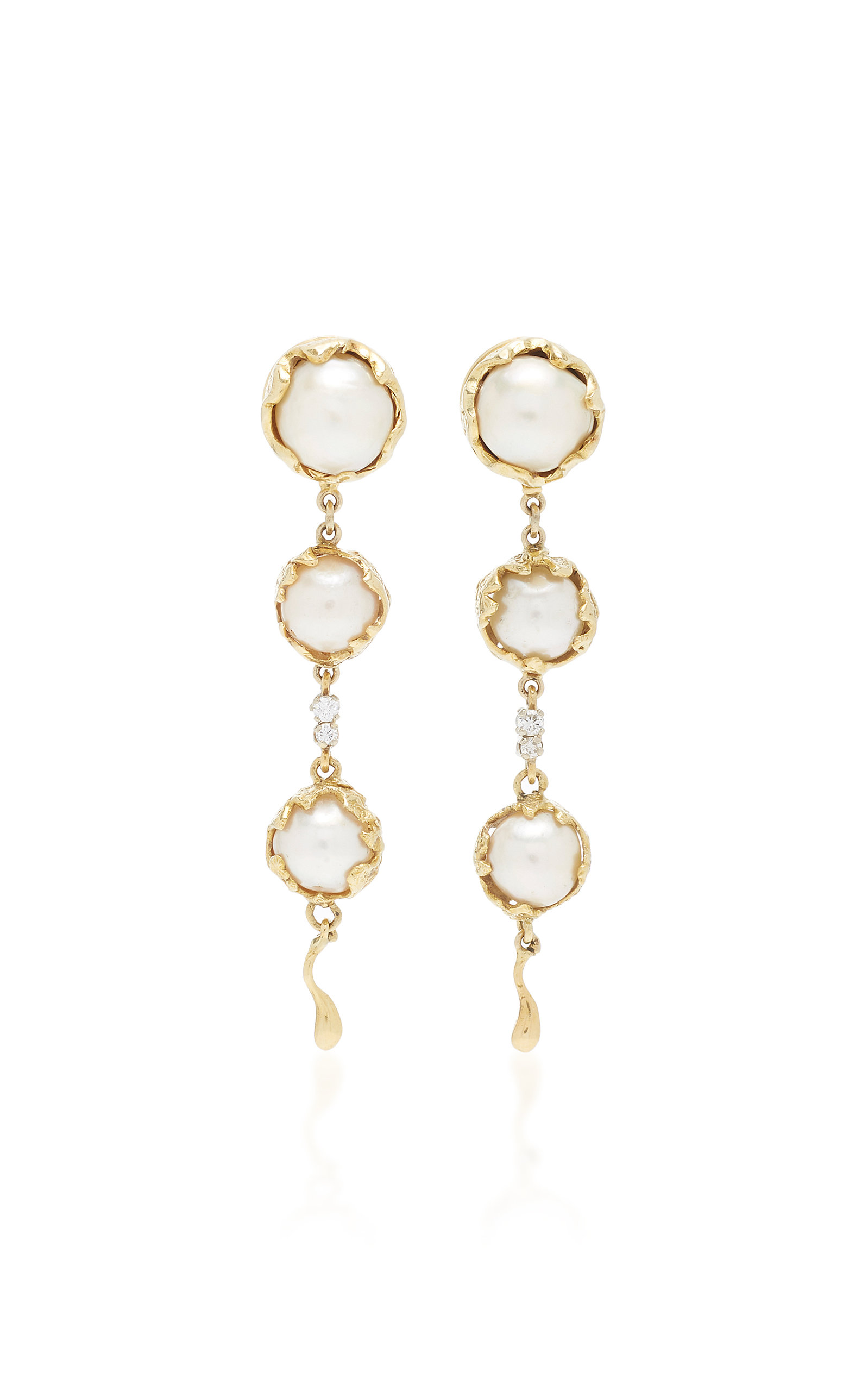 MAHNAZ COLLECTION LIMITED EDITION 18K GOLD CONVERTIBLE DAY/NIGHT EARRINGS WITH PEARLS AND DIAMONDS BY CHARLES DE TEMPL