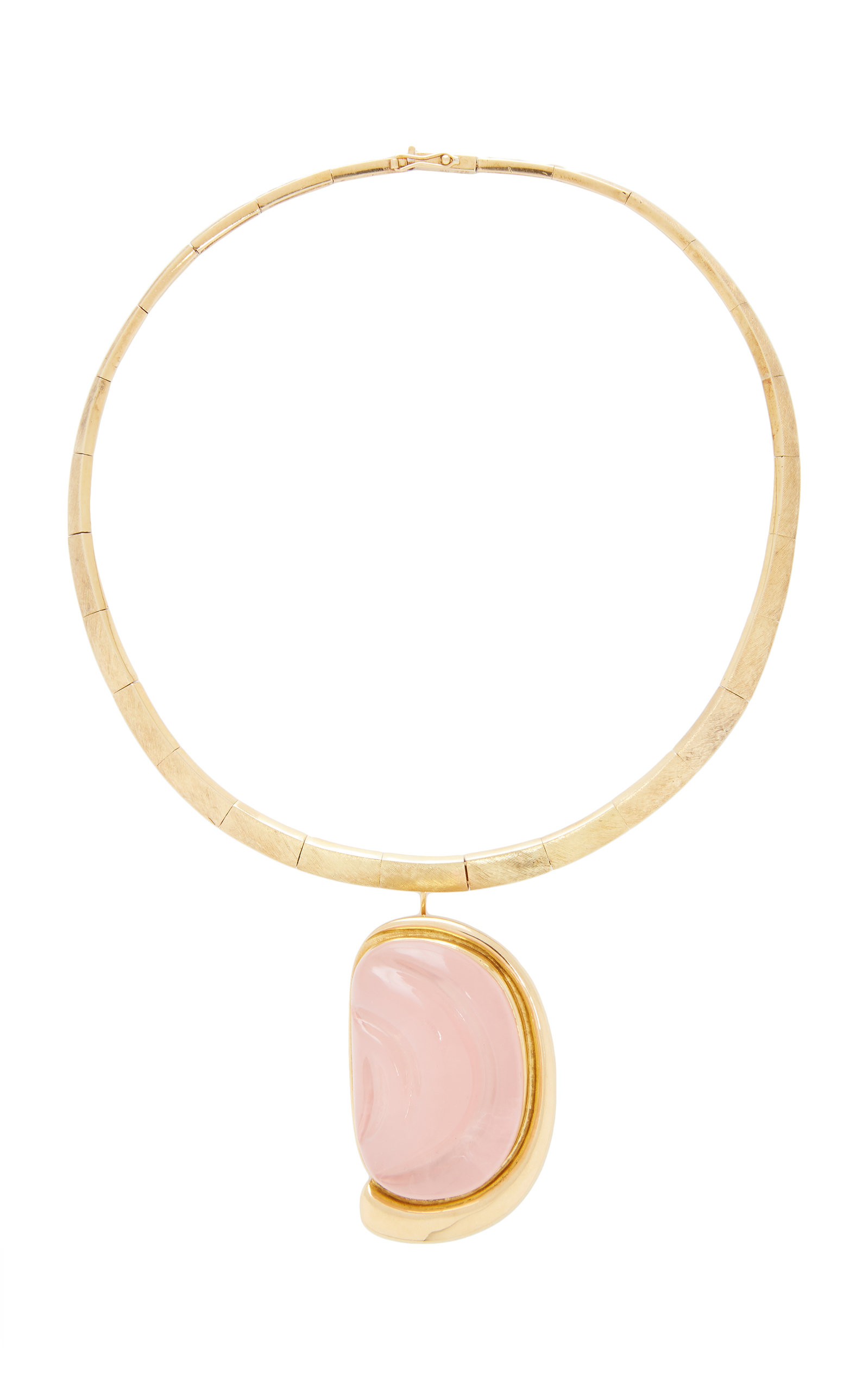 MAHNAZ COLLECTION LIMITED EDITION 18K GOLD AND FORMA LIVRE CARVED ROSE QUARTZ BROOCH PENDANT ON A TORQUE COLLAR BY HAR