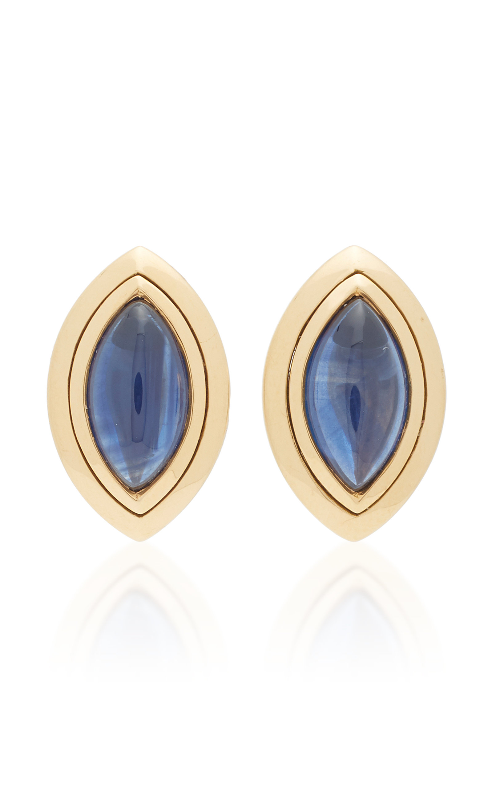 MAHNAZ COLLECTION ONE-OF-A-KIND 18K GOLD AND SAPPHIRE STUD EARRINGS BY HEMMERLE C. 1990.