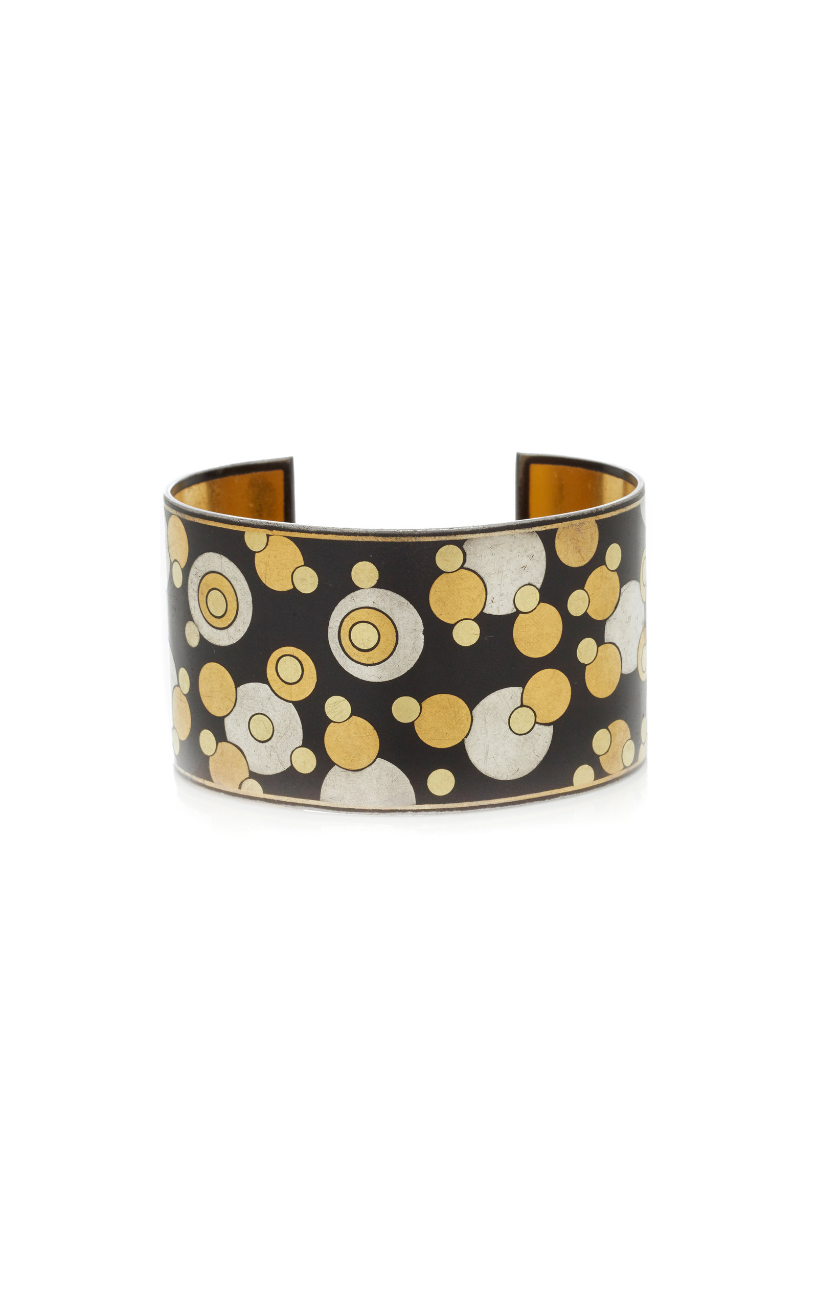 MAHNAZ COLLECTION ONE-OF-A-KIND BLACK IRON LACQUER GOLD INLAY BUBBLE CUFF BY ANGELA CUMMINGS FOR TIFFANY & CO. C. 1980