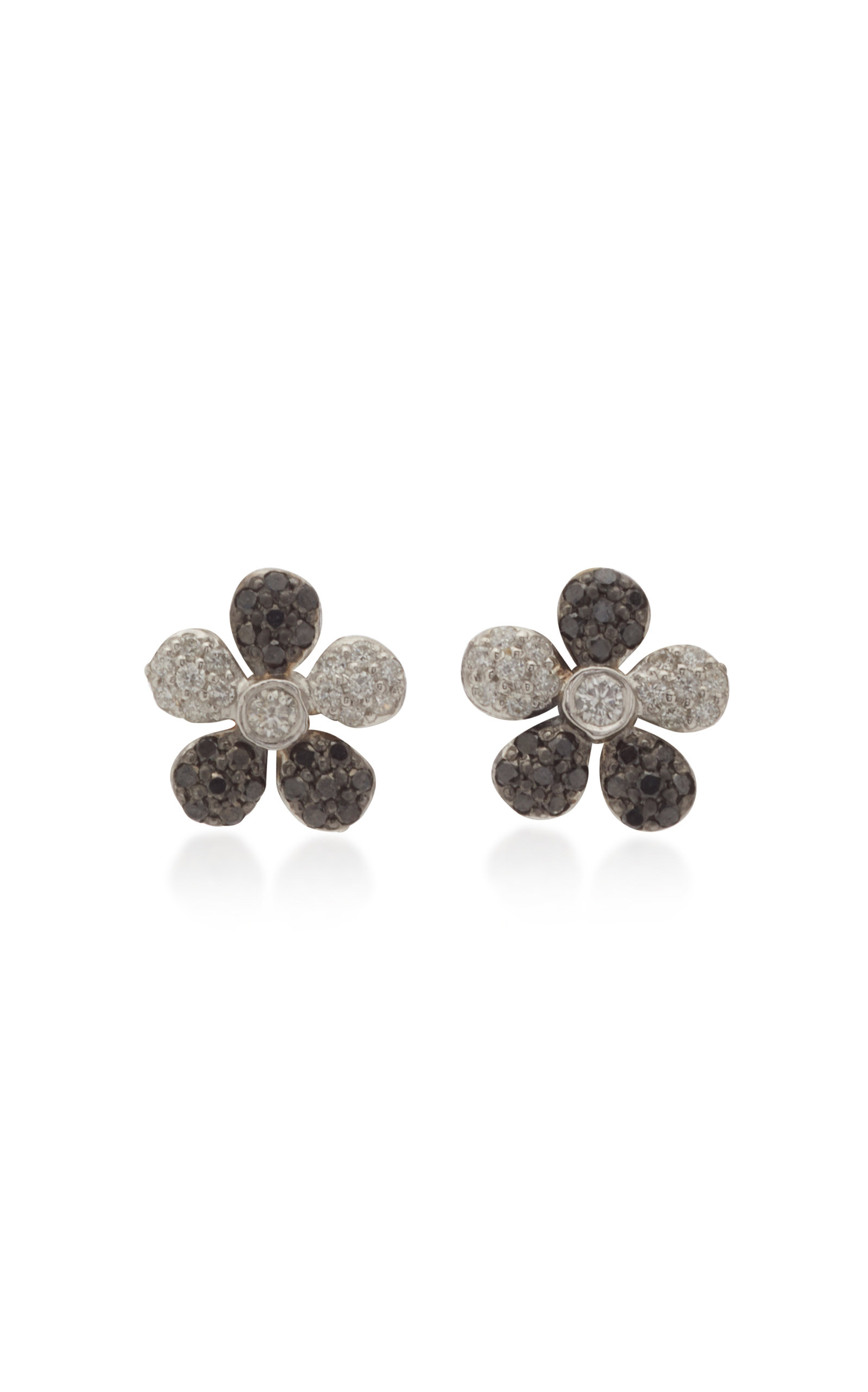 Colette Jewelry Small Flower 18k White And Black Gold Stud Earrings