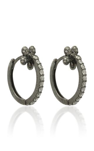 COLETTE JEWELRY | Colette Jewelry Mini Petite Flower 18K Black Gold And Diamond Hoop Earrings | Goxip
