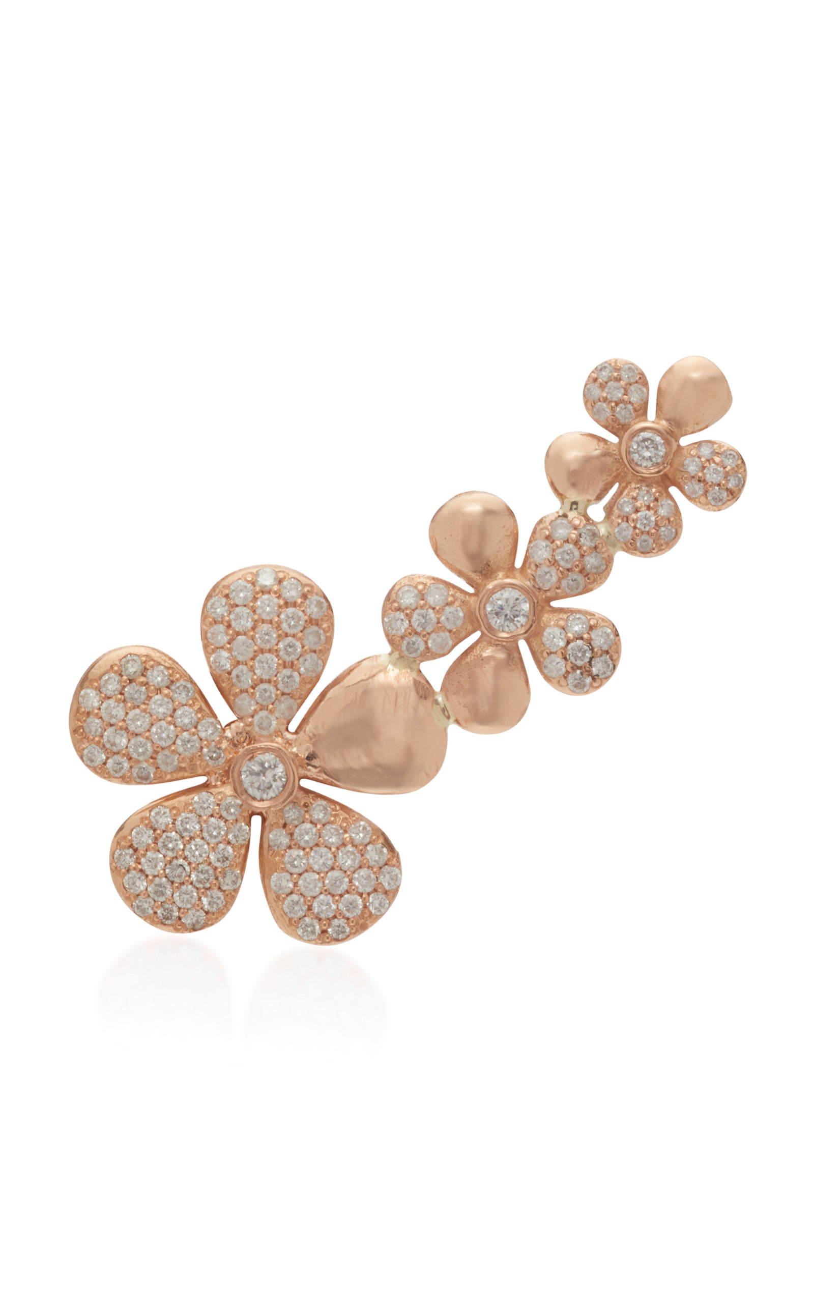 COLETTE JEWELRY Floral 18K Rose Gold And Diamond Ear Climber in Pink