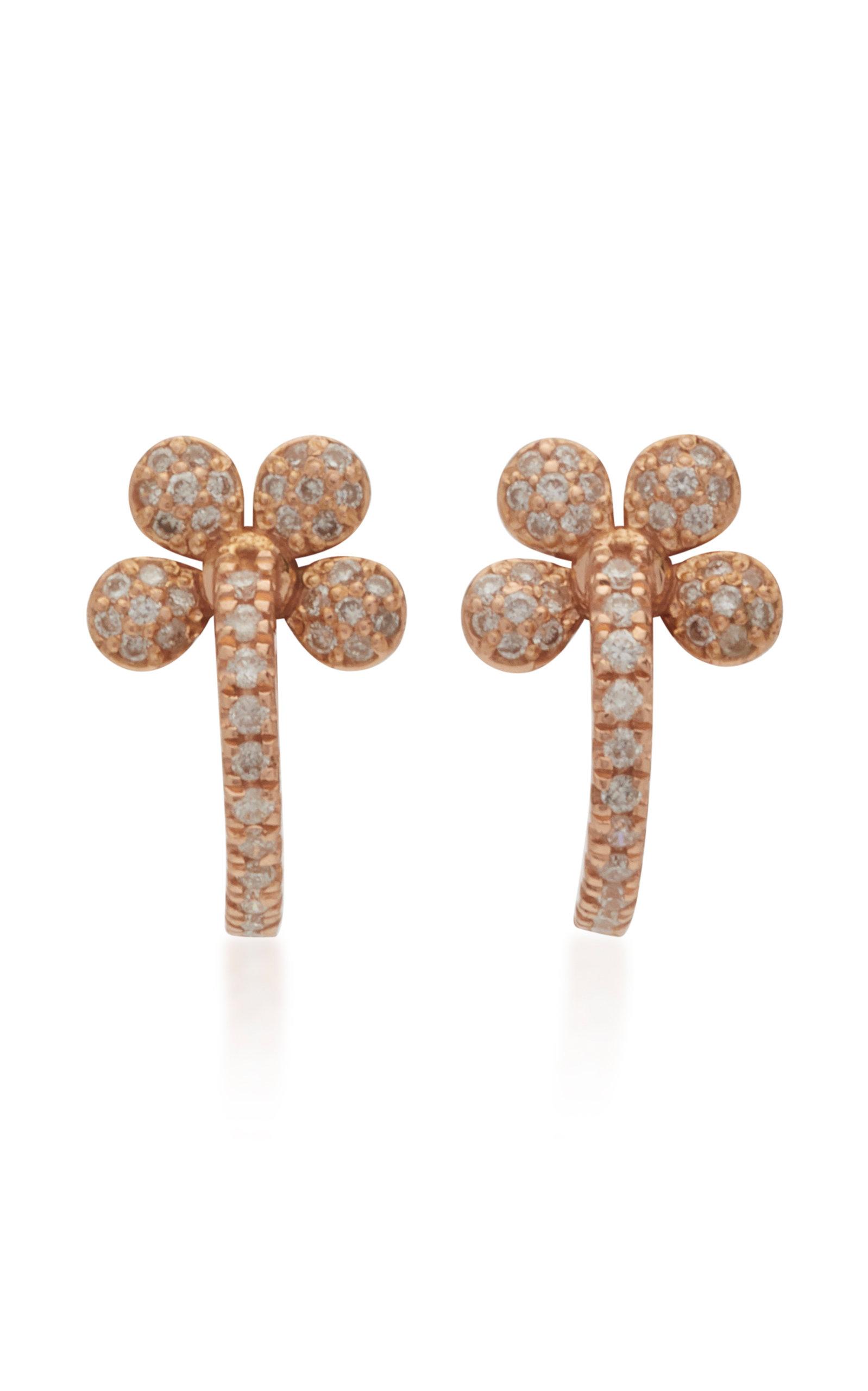COLETTE JEWELRY Mini Petite Flower 18K Rose Gold And Diamond Hoop Earrings in Pink