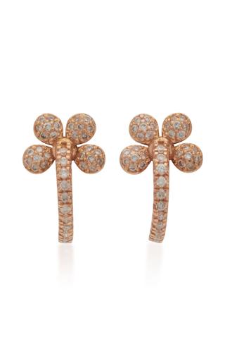 COLETTE JEWELRY | Colette Jewelry Mini Petite Flower 18K Rose Gold And Diamond Hoop Earrings | Goxip