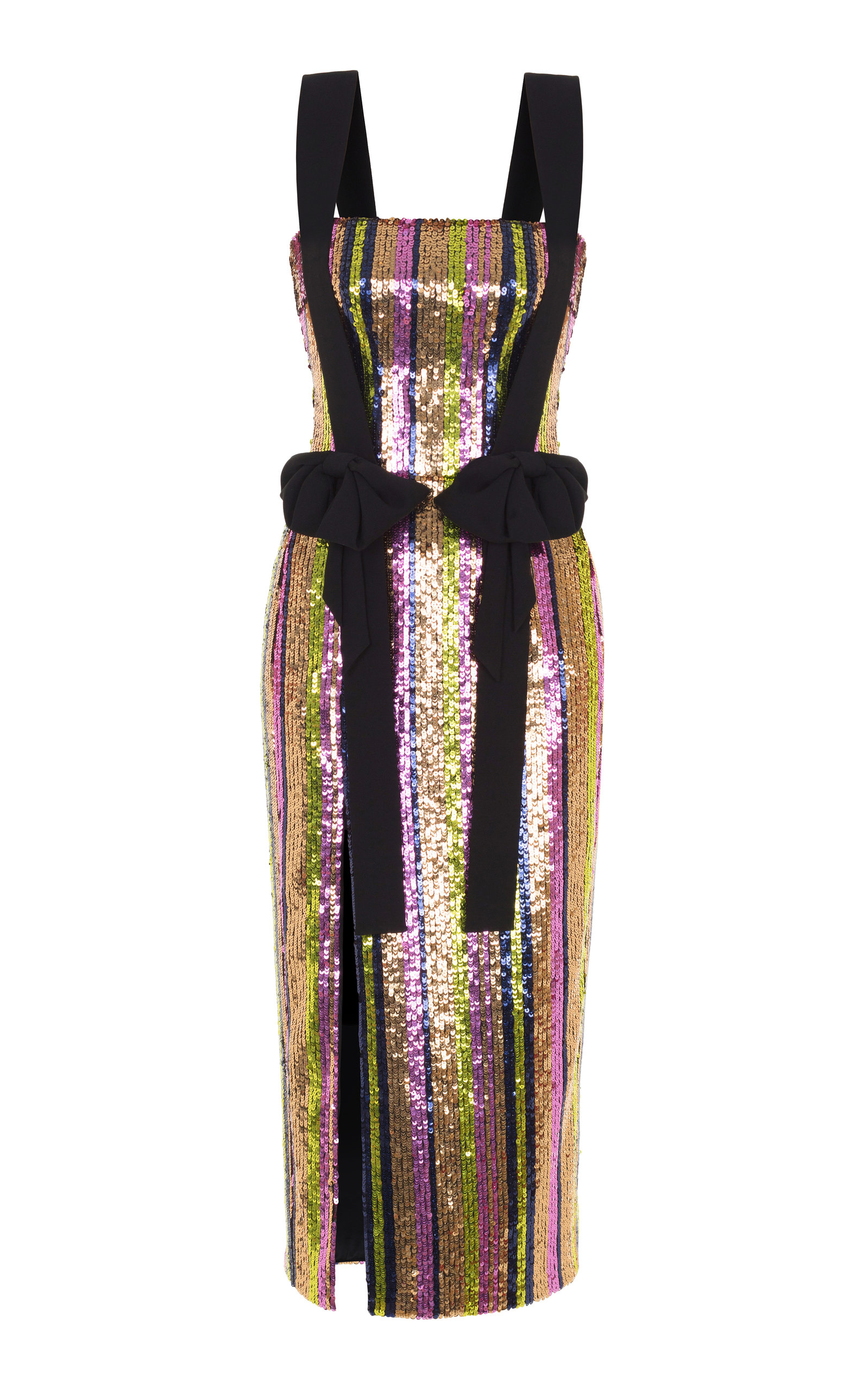 RASARIO BOW SEQUIN MIDI DRESS