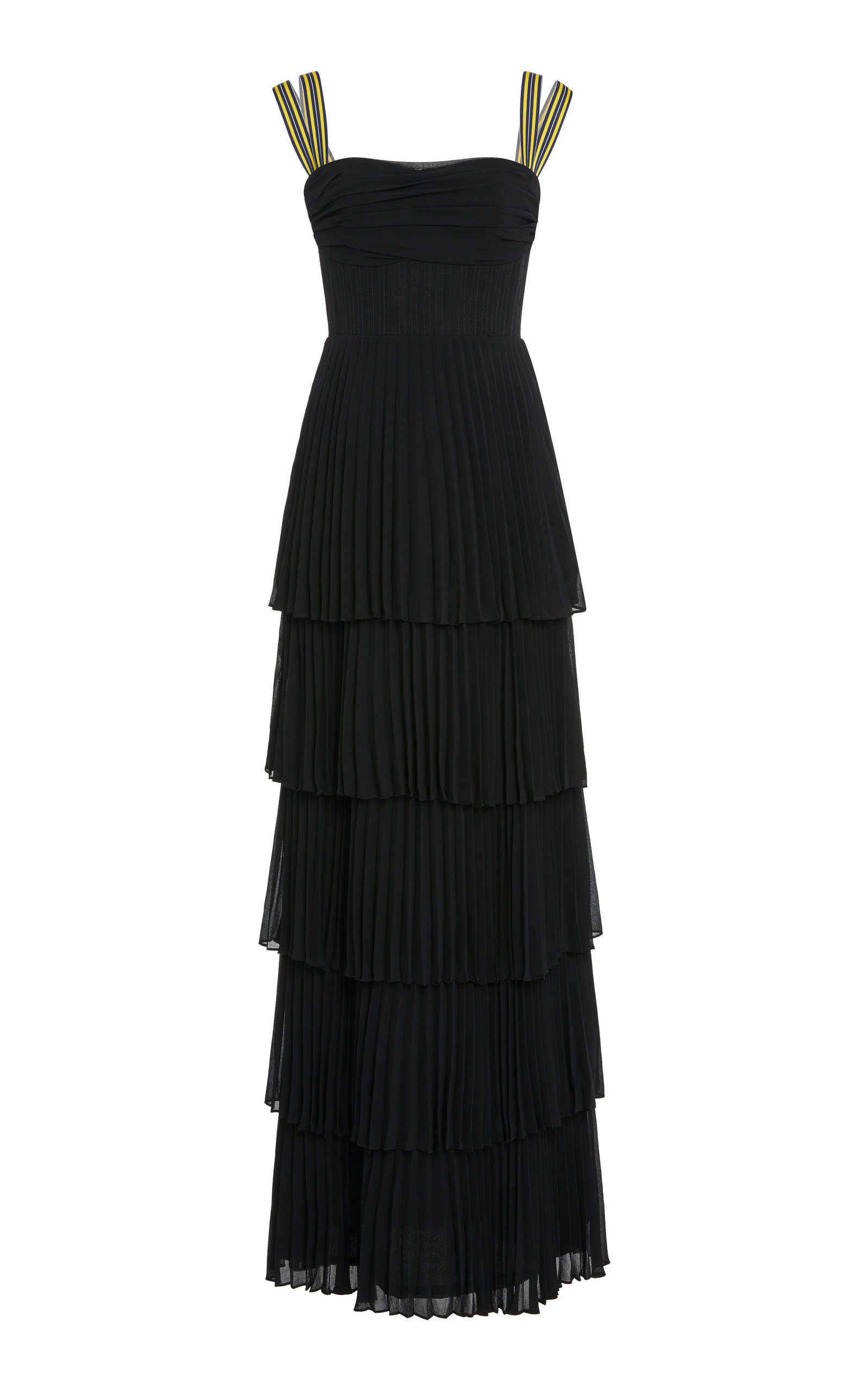 RACHEL GILBERT SOEKIE TIERED PLEATED GOWN