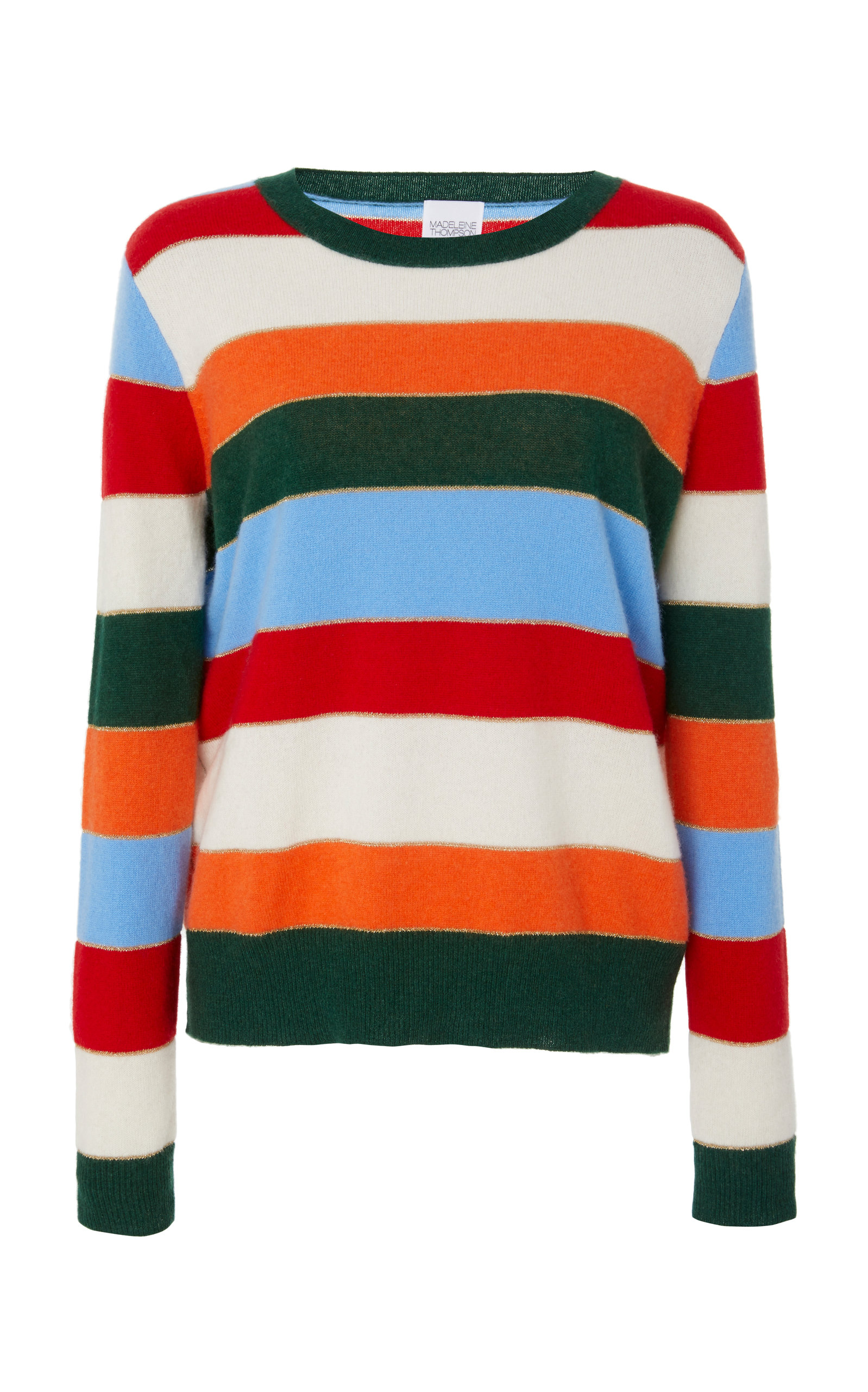 MADELEINE THOMPSON LUCCA STRIPED CASHMERE SWEATER