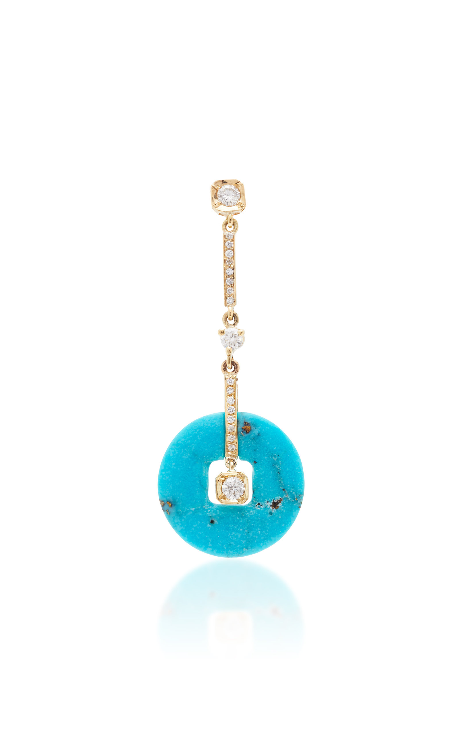 THE LAST LINE SINGLE DIAMOND AND TURQUOISE DECO DROP EARRING