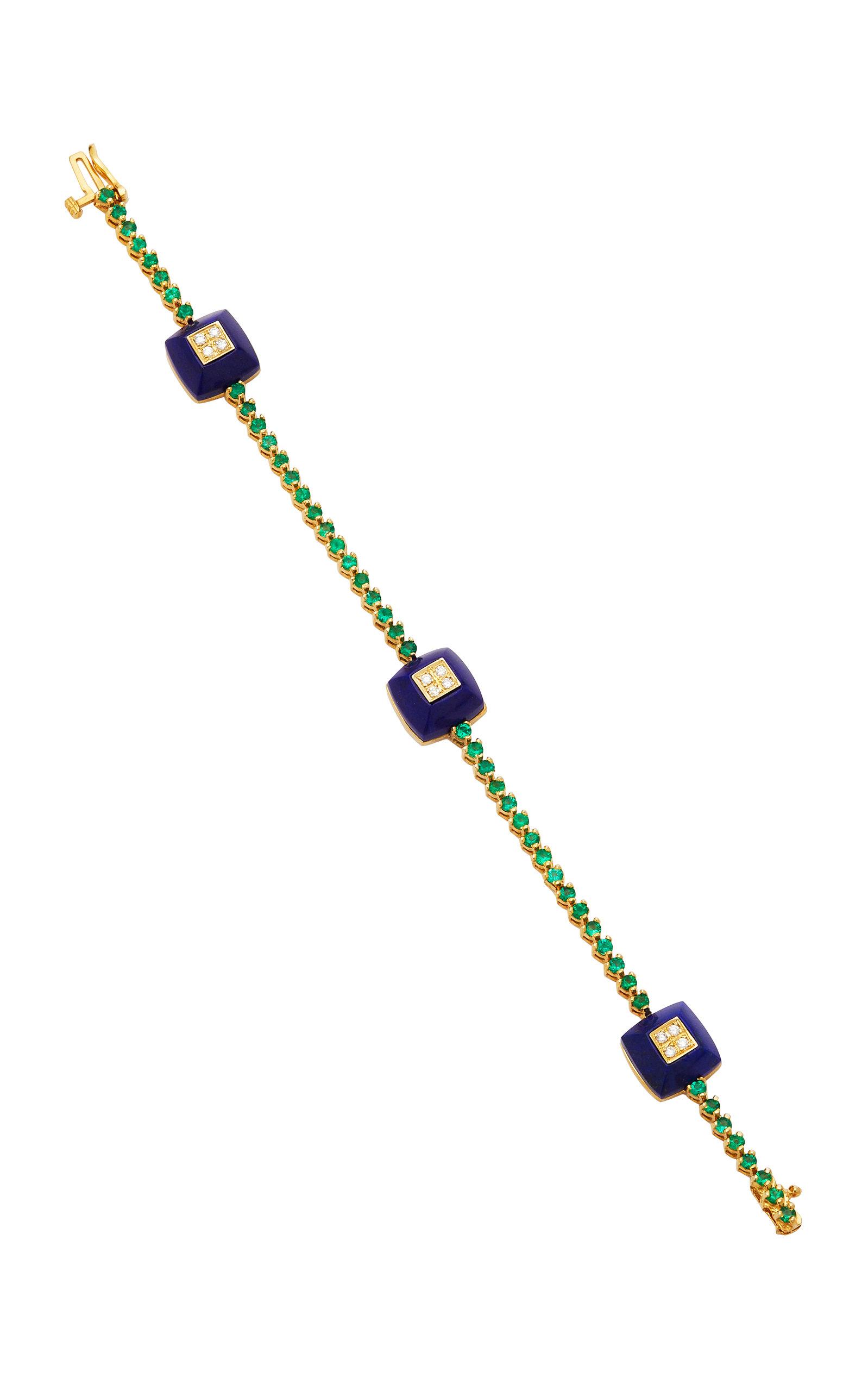 THE LAST LINE DIAMOND AND LAPIS EMERALD PYRAMID BRACELET