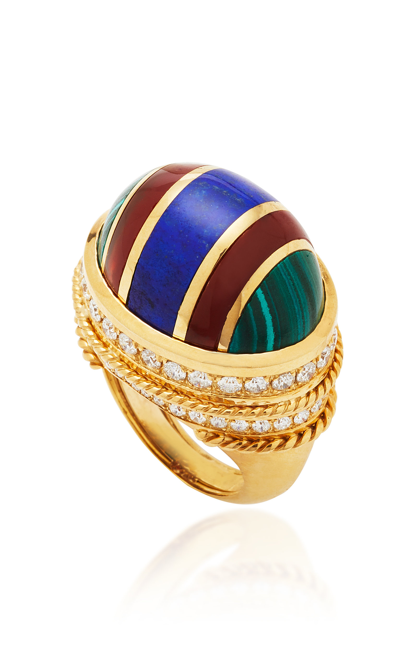 THE LAST LINE MULTI-STONE INLAY BOMBE COCKTAIL RING