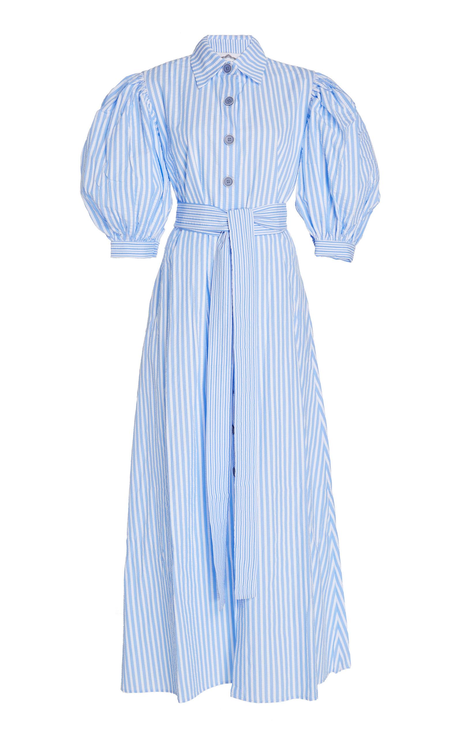 89adaab63b71 Valerie Puff-Sleeve Striped Cotton Maxi Dress by Evi Grintela