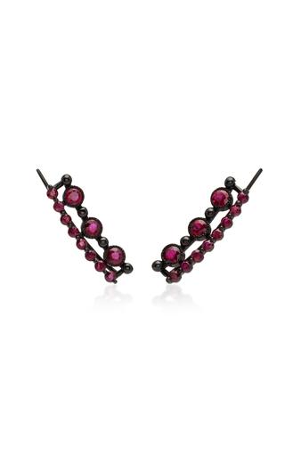 COLETTE JEWELRY   Colette Jewelry 18K Black Gold Stone Ear Cuffs   Goxip