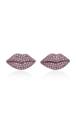 COLETTE JEWELRY   Colette Jewelry 18K Gold And Pink Sapphire Lip Earrings   Goxip
