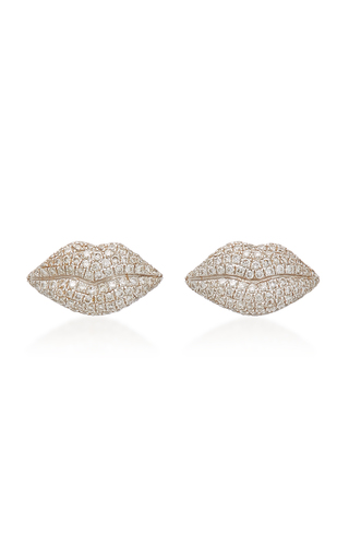 COLETTE JEWELRY   Colette Jewelry 18K Gold and Diamond Lip Earrings   Goxip